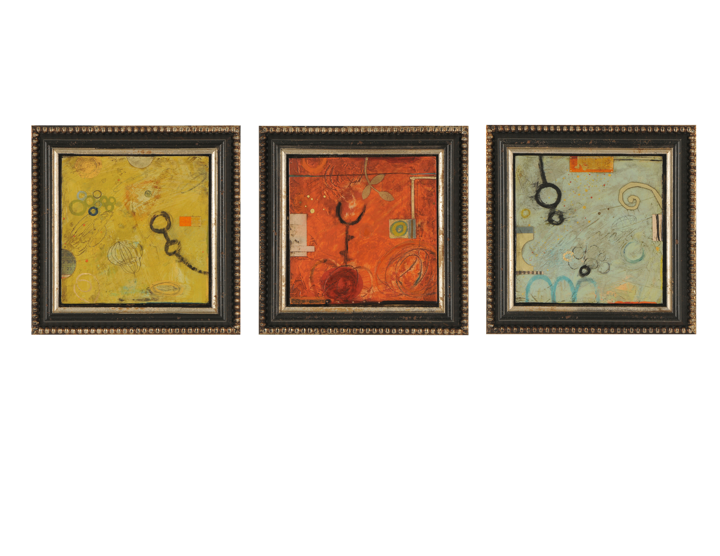 """Don Quade  16"""" Sq. Triptych  Constellation, Countdown, Africa Calling"""