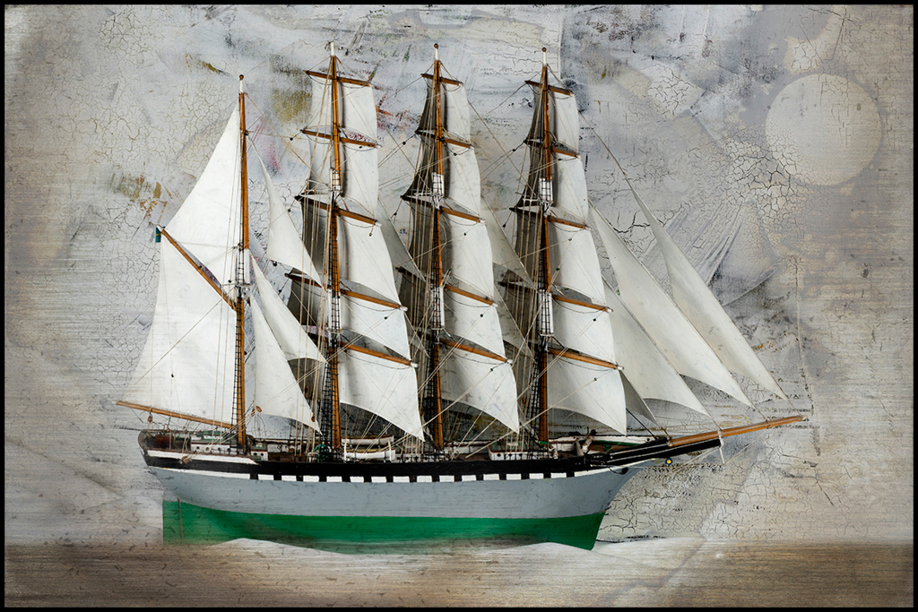 Bonny Lhotka  Blue Moon Sailing  pigment transfer to glass