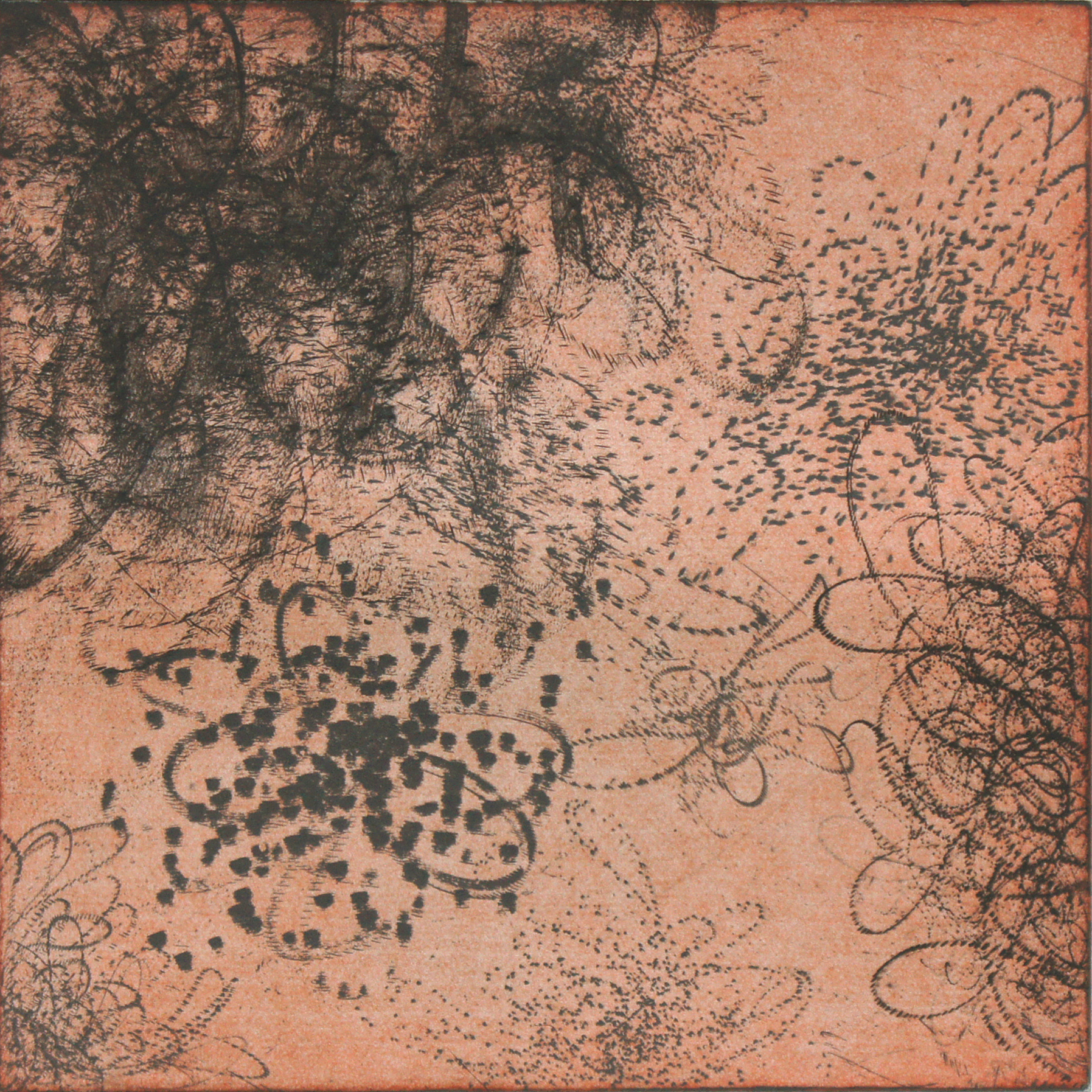 """MSM- composition 4r  Intaglio print etching, aquatint, drypoint  22"""" x 22""""  (also available in yellow, blue and green)"""