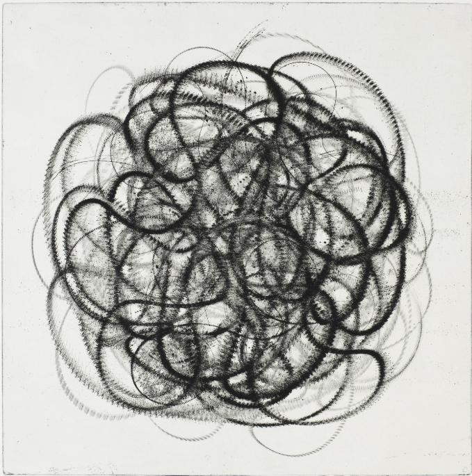 """MSM 4  Intaglio etching drypoint, soft ground  37"""" x 37"""" paper  (also available in green and green)"""