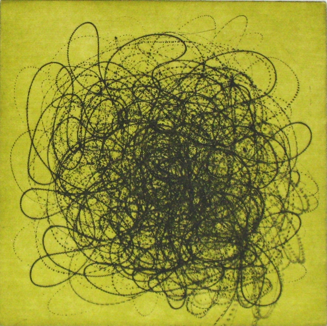 """MSM-composition 22g  Intaglio print etching, aquatint  22"""" x 22""""  (also available in black/white, blue and yellow)"""
