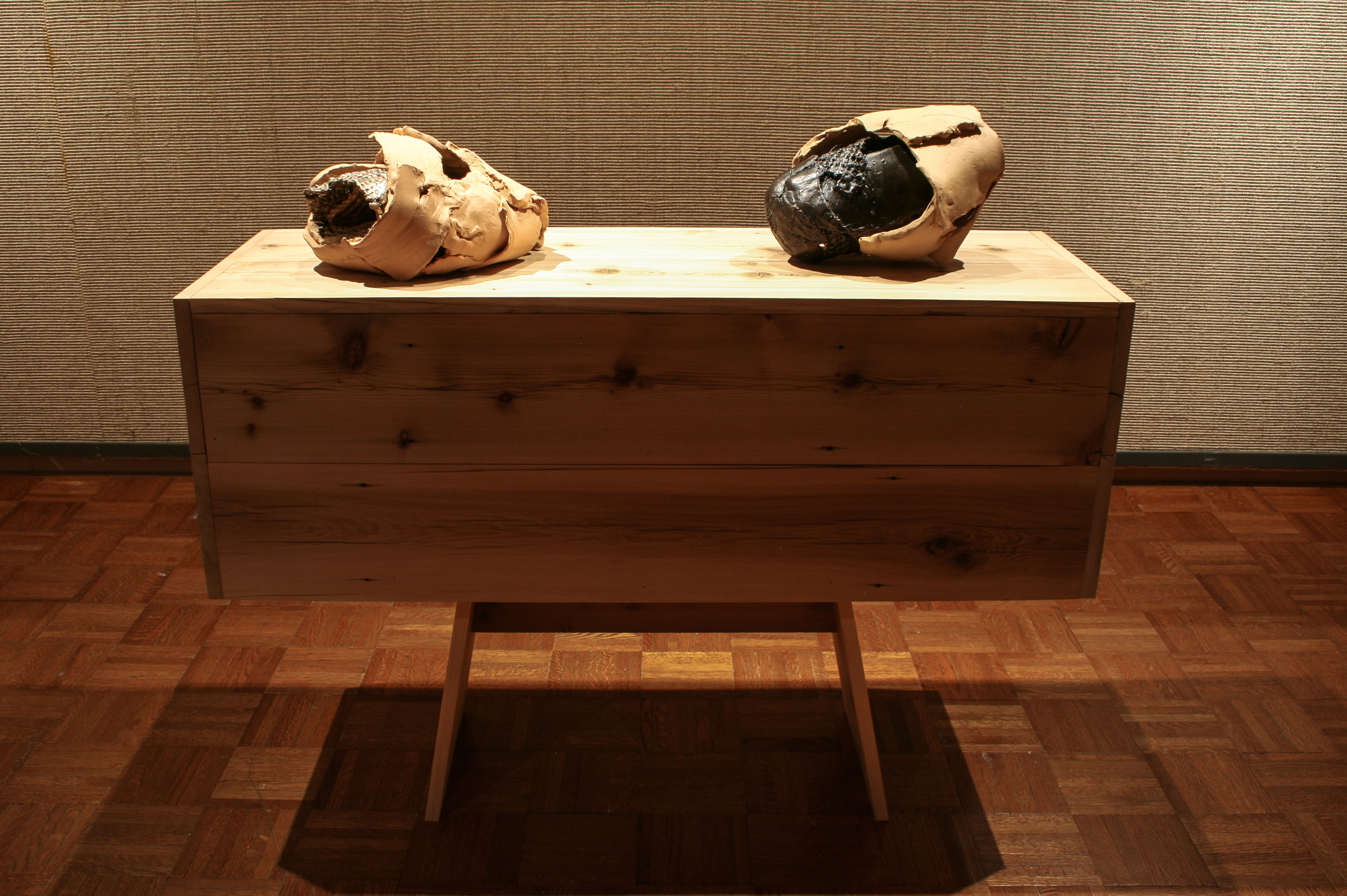 When Parts Become the Sum of the Whole  (2014)  Reclaimed wood, clay, bronze
