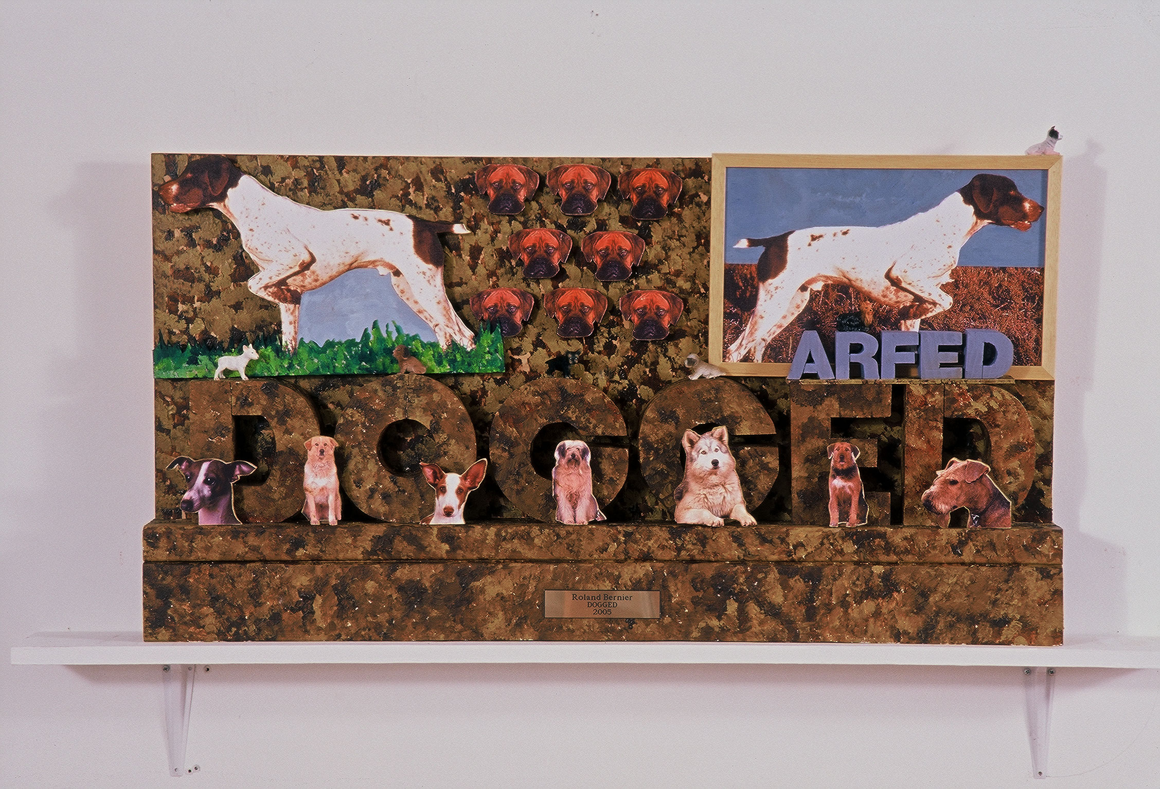 """Dogged  39"""" x 21""""x 3.5""""  Wood, xerox, paint  (More available in different Styles / different words)"""
