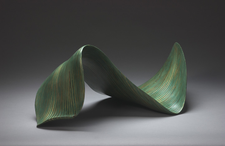 "GREEN WAVE (table top)    12"" h x 28"" w x 15"" d    Laminated plywood, aniline dye"