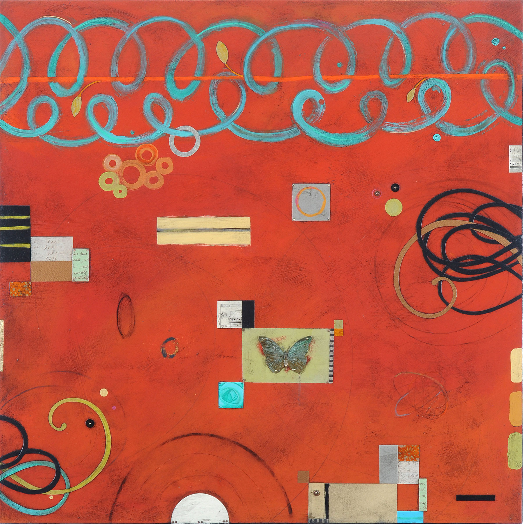 """Clementine  mixed media on panel  36"""" x 36"""""""