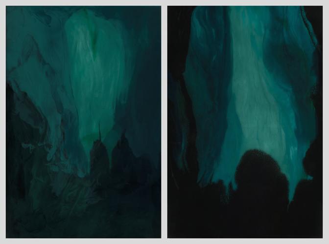 "Moirai #1 and #2 (diptych)  resin and acrylic paint  24"" x 36"" each"