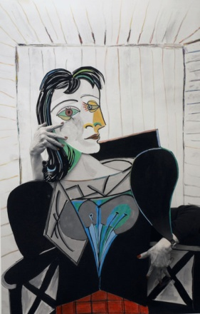 """Sally Stockhold  """"Dora Maar""""  35. 5x 23.5  From the """"My self portraits, ode to icons"""" Series archival aarbon pigment print, hand colored using prismacolor pencils"""