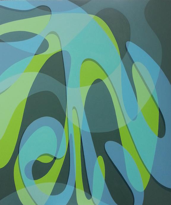 """Angela Beloian  """"Deluge""""  40 x 48  latex on on canvas on panel"""
