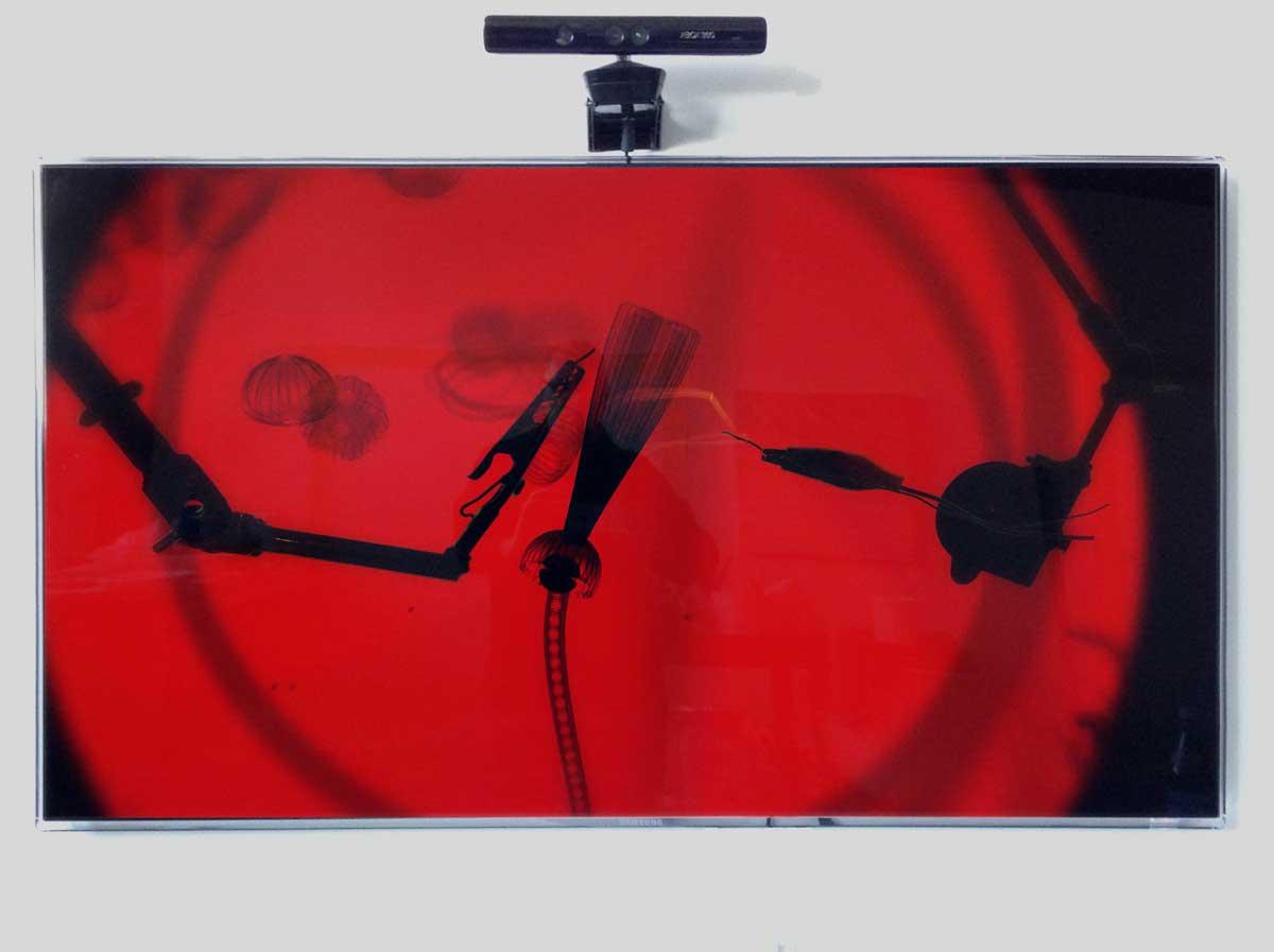"Intervention  48"" x 34""  digital LED screen, Kinect sensor, PC, 2-channel sound"