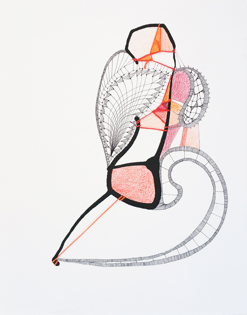 Provocative Anthurium  Ink, embroidery floss and colored pencil on Rives BFK paper 15.5x12.5 framed