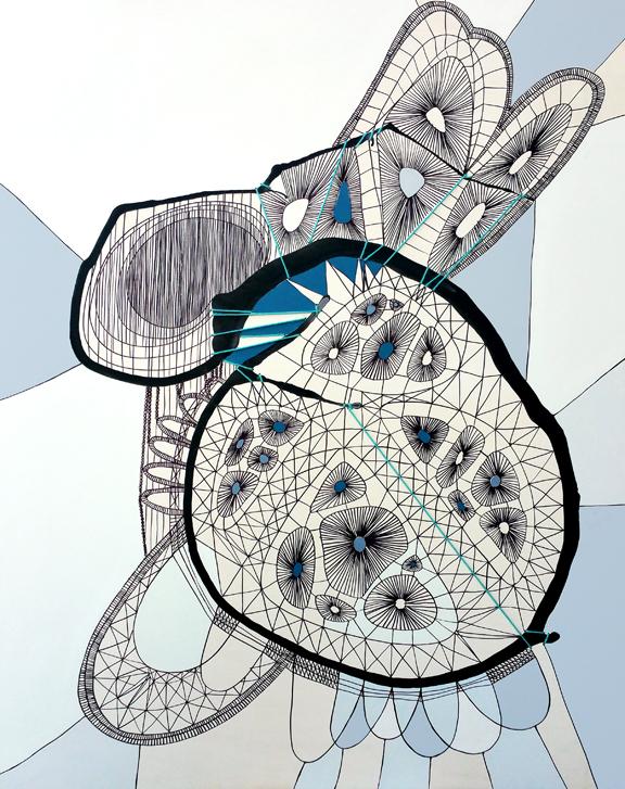 "Angela Beloian  ""Rolly Polly""  32x40  ink, yarn andlatex on panel"