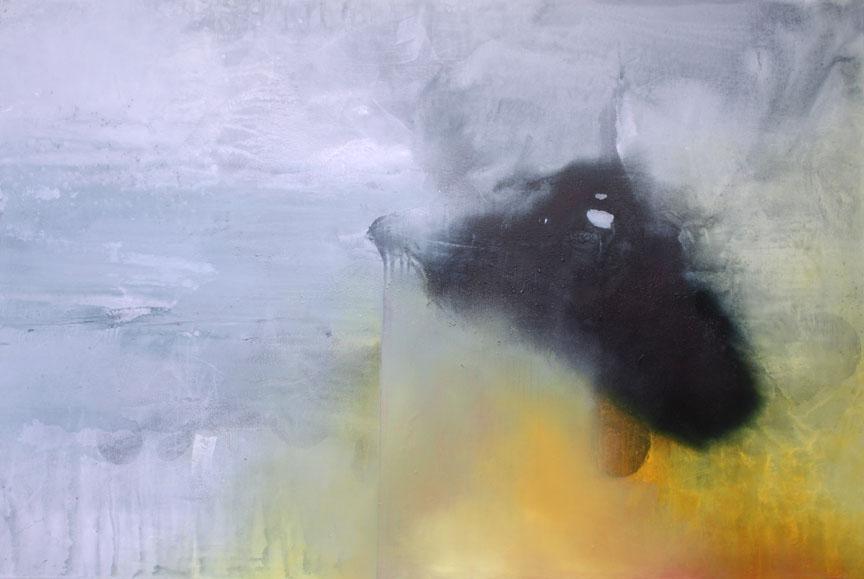 "My Better Half  ink, acrylic, powdered graphite, on canvas  40"" x 60"""