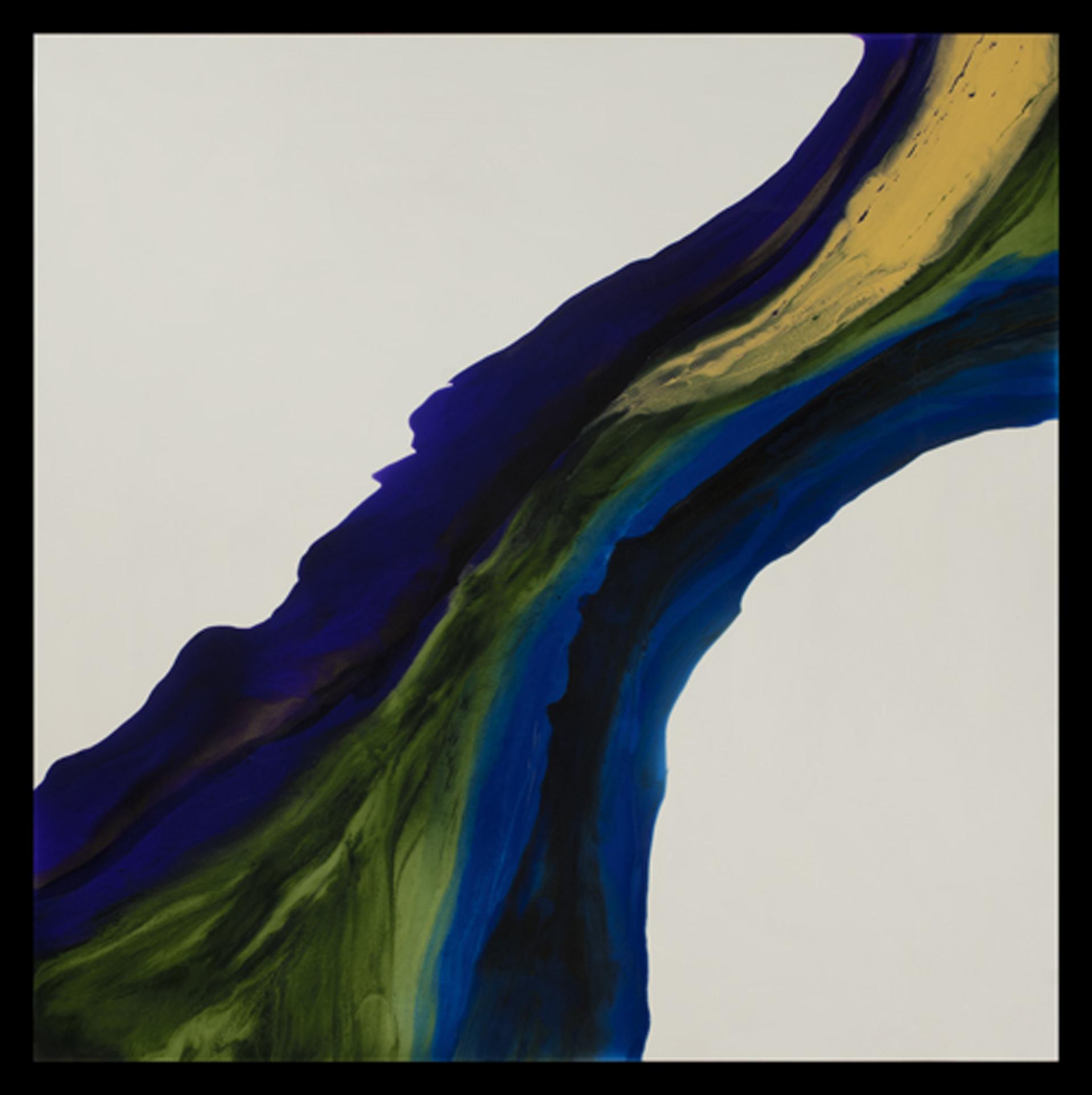 "River  resin & acrylic on panel  48"" x 48"""