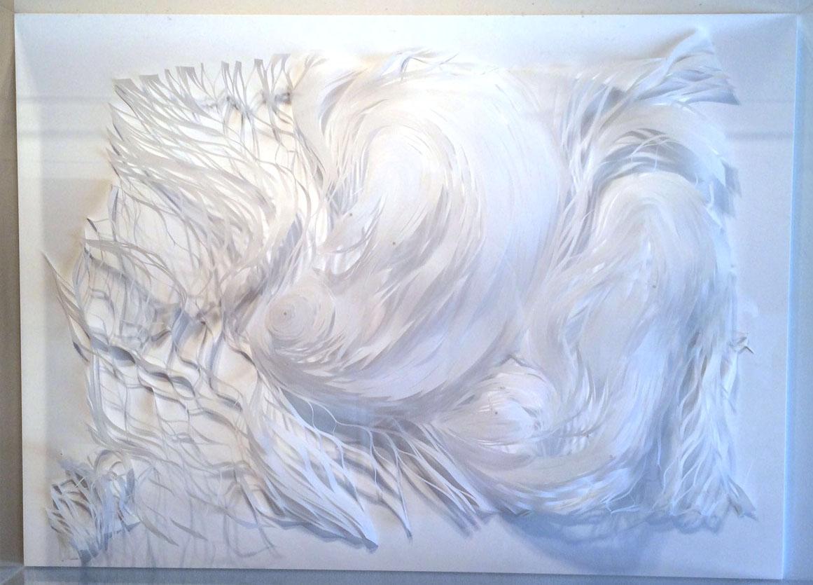 "Expanding Landscape 1  Mylar, glue, acrylic  24"" x 36"" x 6"""