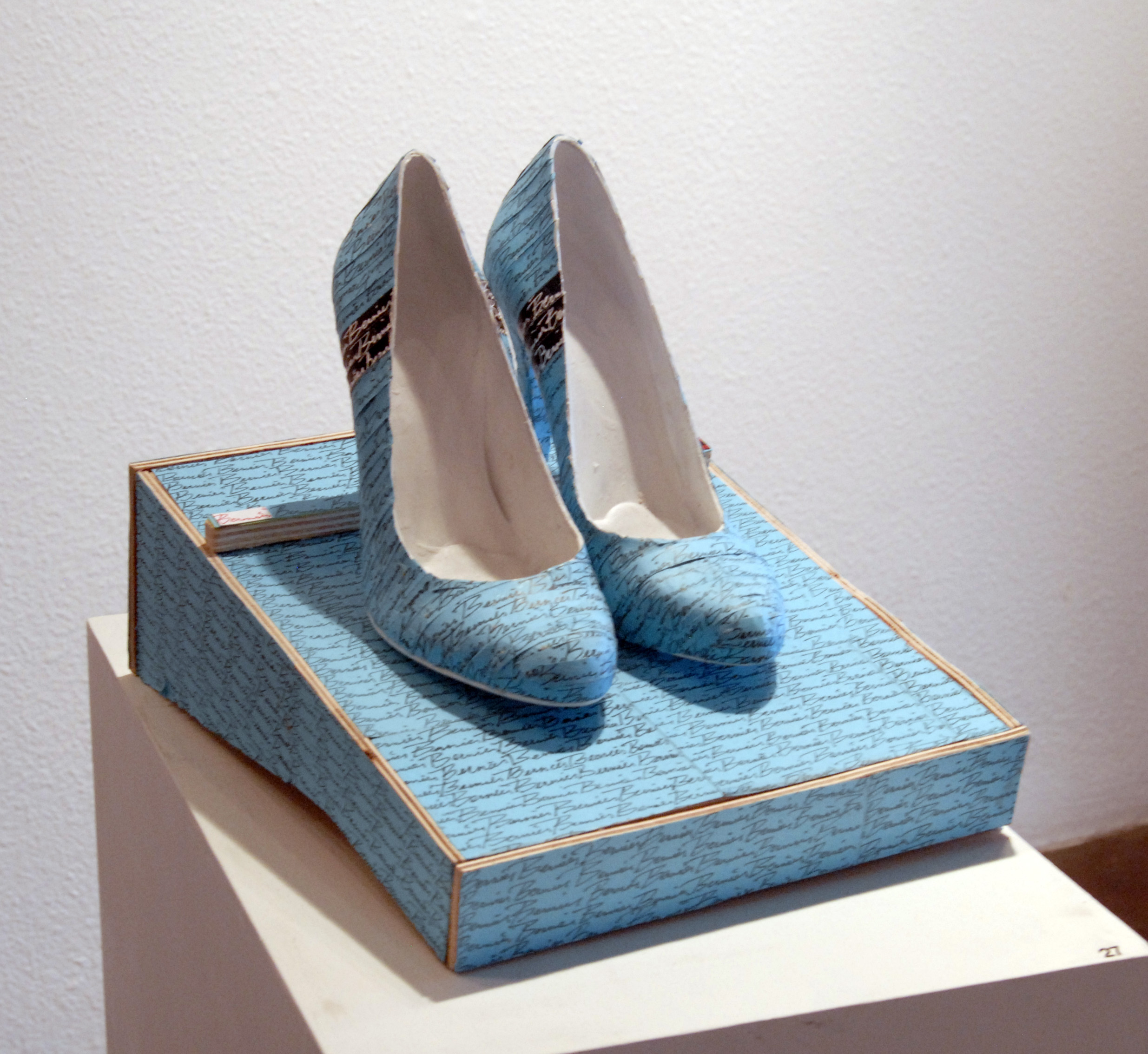 Roland Bernier  Dressed Down, 2013  10 x 12 in.  shoes, wood, xeroxoed paper