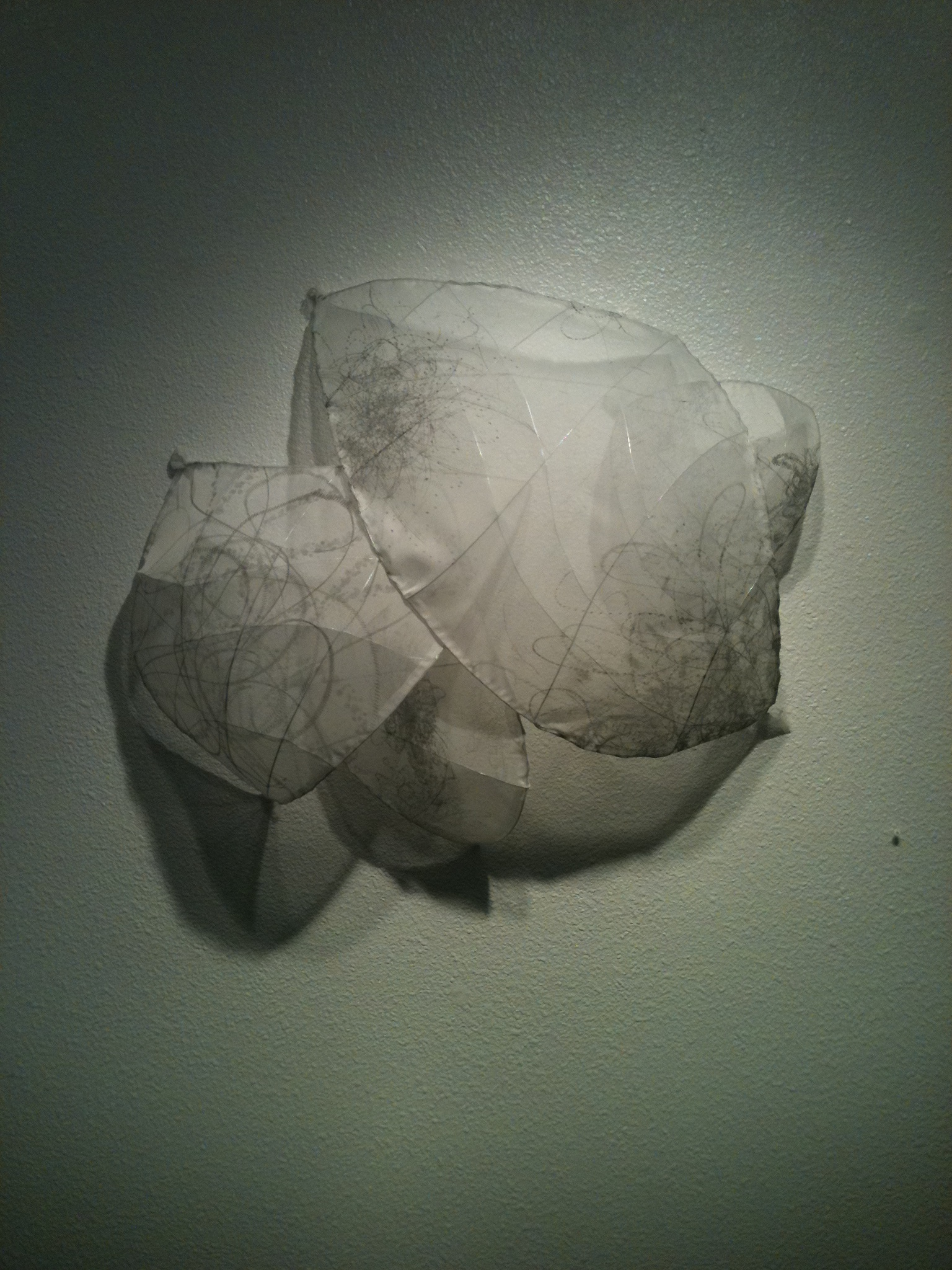"""Untitled  fabric, wire, ink  26"""" x 31"""""""