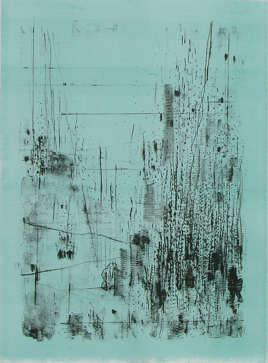 """untitled 1 - from frogman's  lithograph w/ monoprint  23.5"""" x 17"""""""