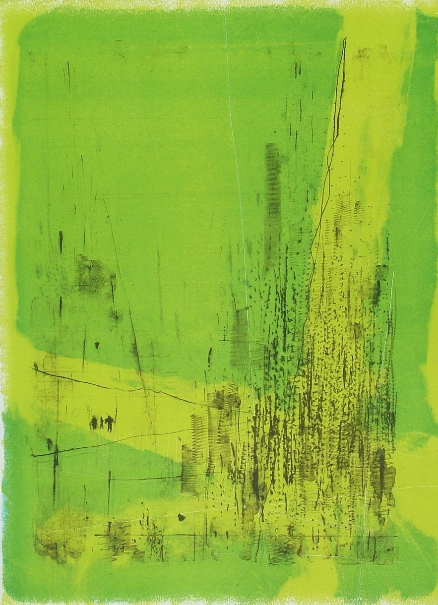 """untitled 2 - from frogman's  lithograph w/ monoprint  23.5"""" x 17"""""""