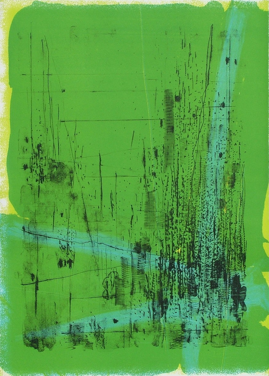 """untitled 6 - from frogman's  lithograph w/ monoprint  23.5"""" x 17"""""""