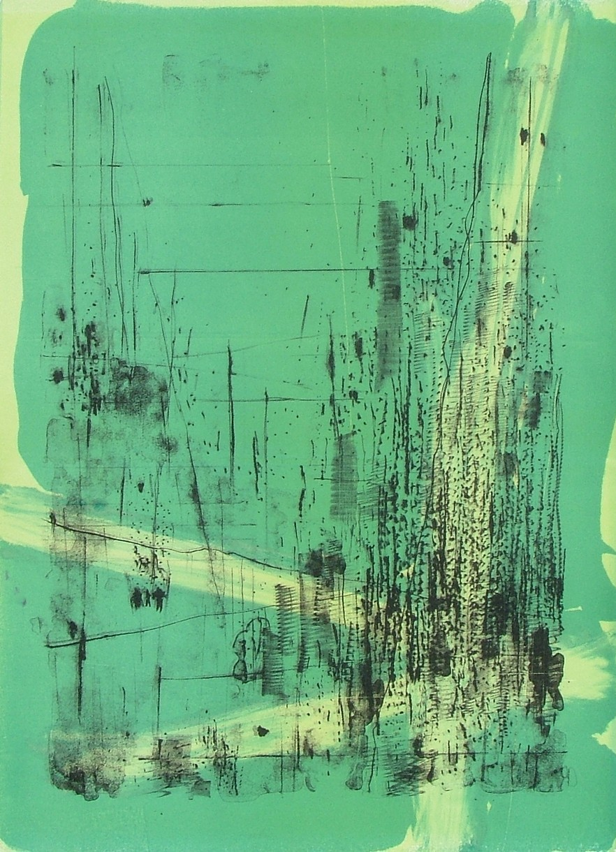 """untitled 8 - from frogman's  lithograph w/ monoprint  23.5"""" x 17"""""""