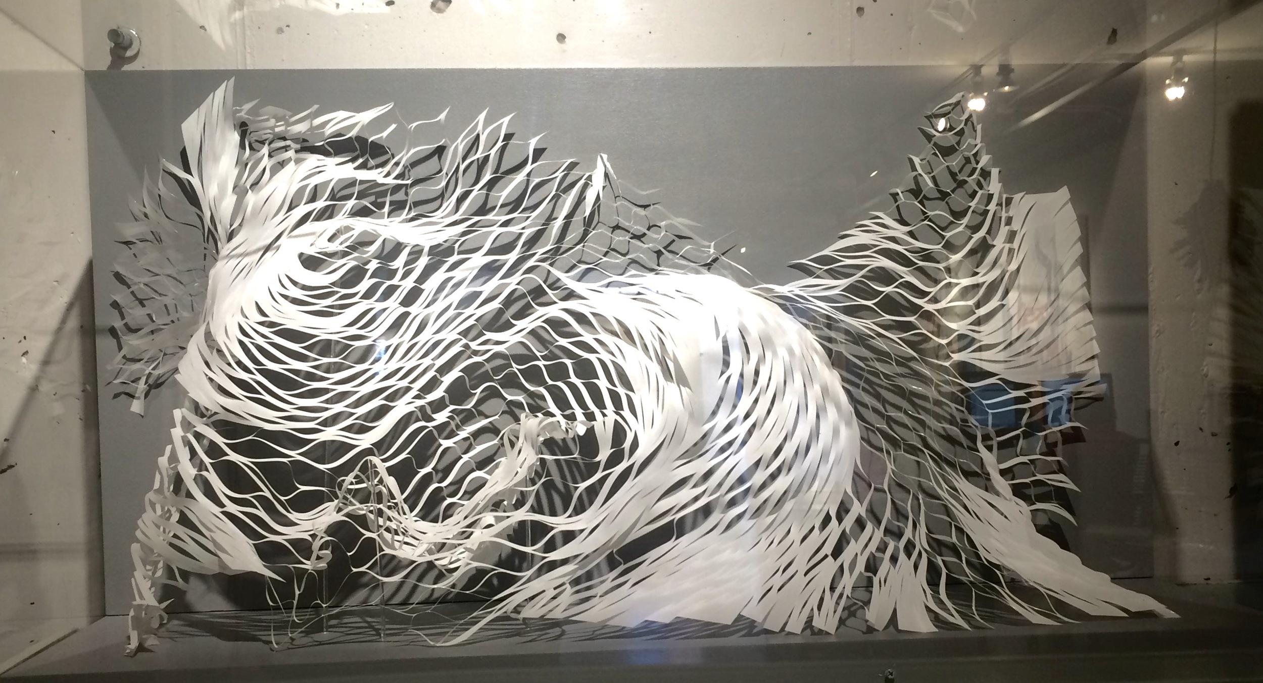 "Expanding Landscape 3  Mylar, glue, acrylic  36"" x 20"" x 11.5"""