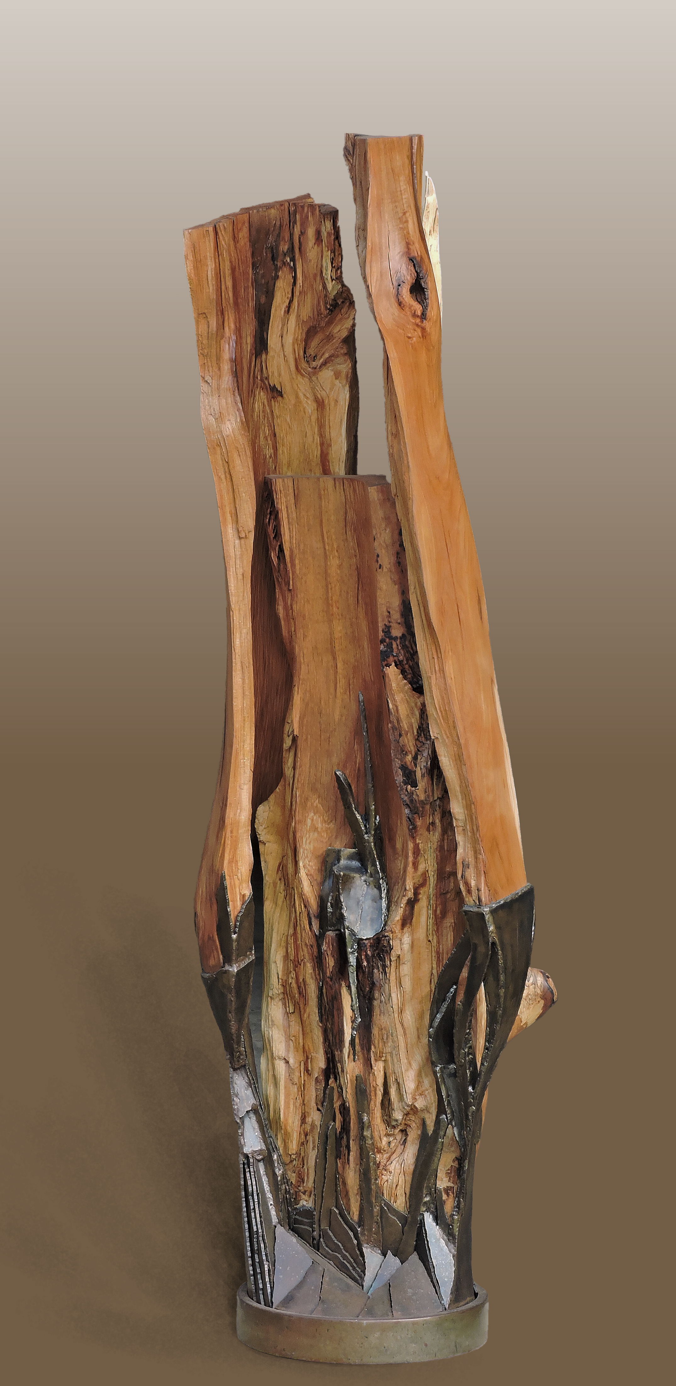 """Shades of Shapes in Calling  beech, steel  66"""" x 23"""" x 19"""""""