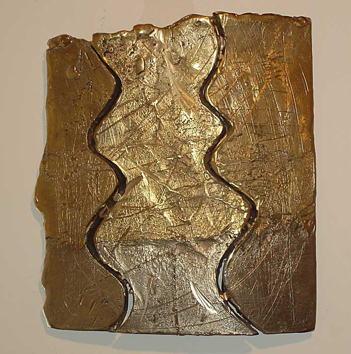 Stitched Puzzle  cast & fabricated manganese bronze  12x12