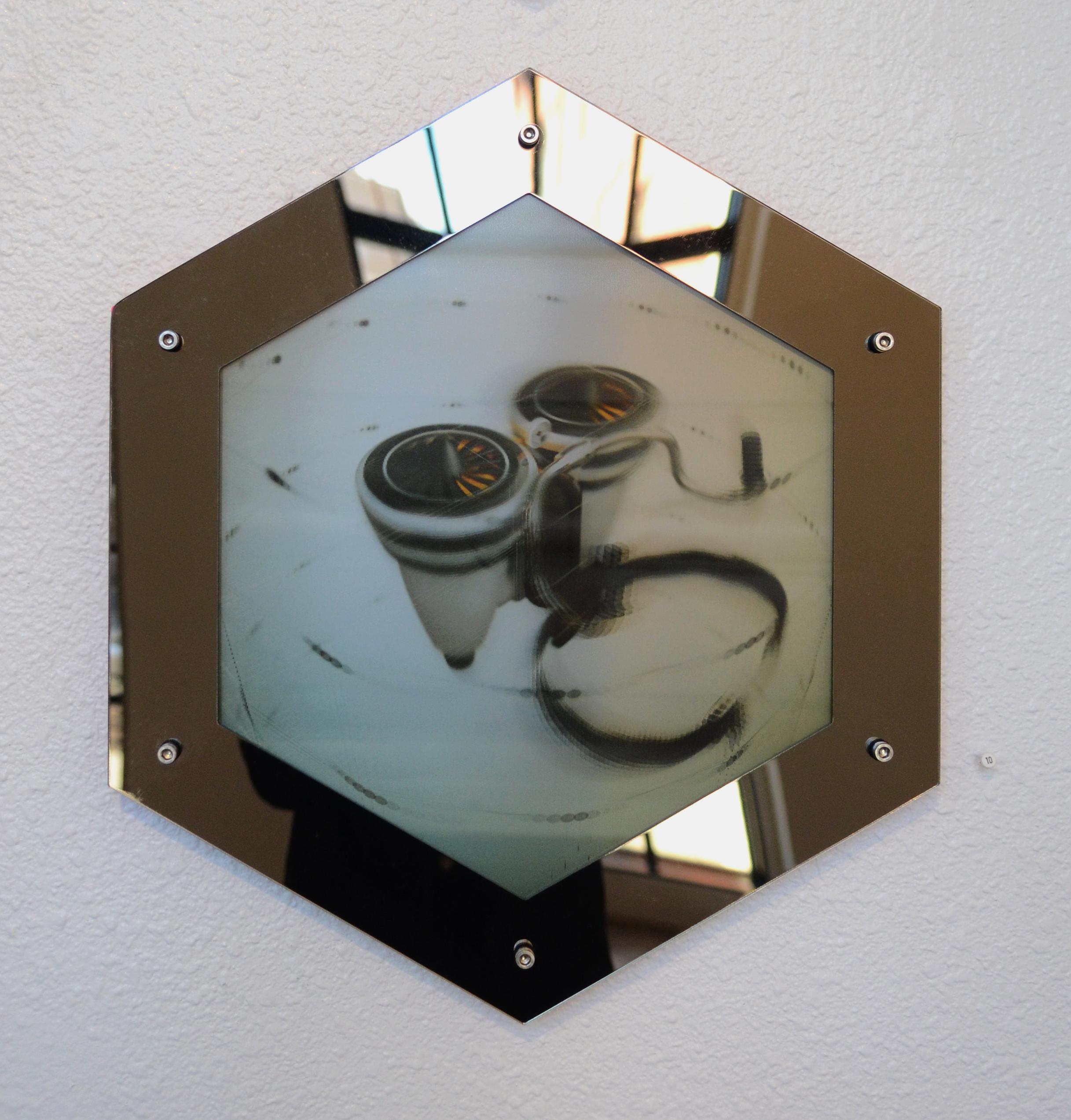 "Jet Pack (We were promised...)  lenticular print, bronze acrylic  16"" x 18"""
