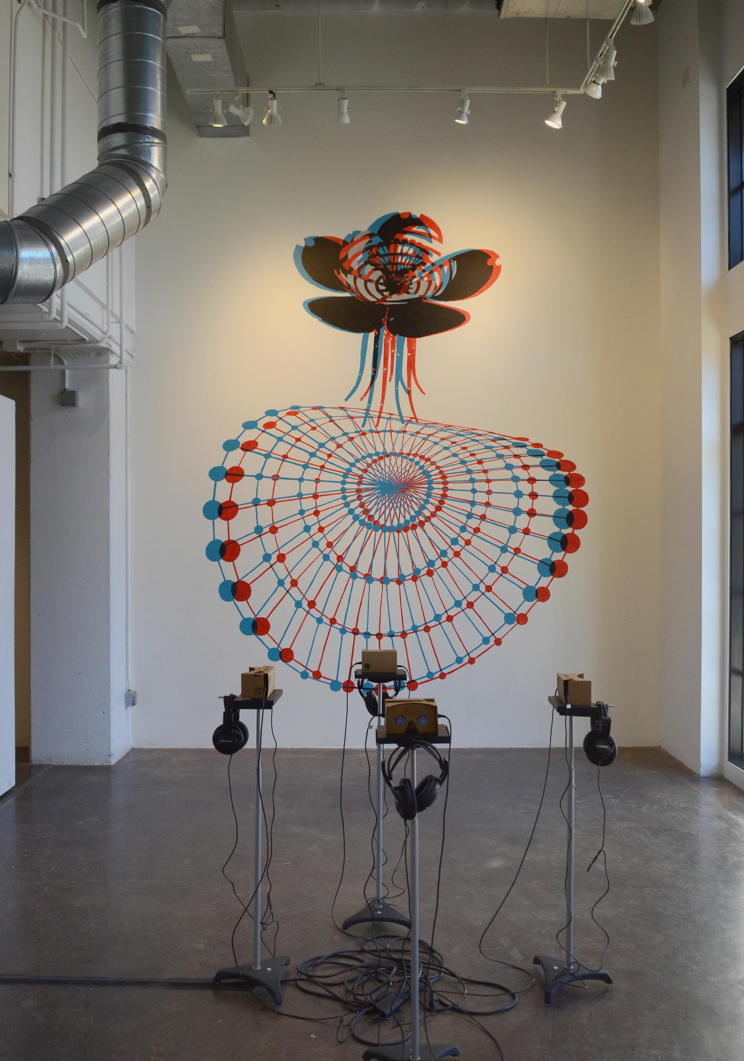 "Speculative Columbine  acrylic wall mural, trioscopic glasses (site specific)  100"" x 120"""