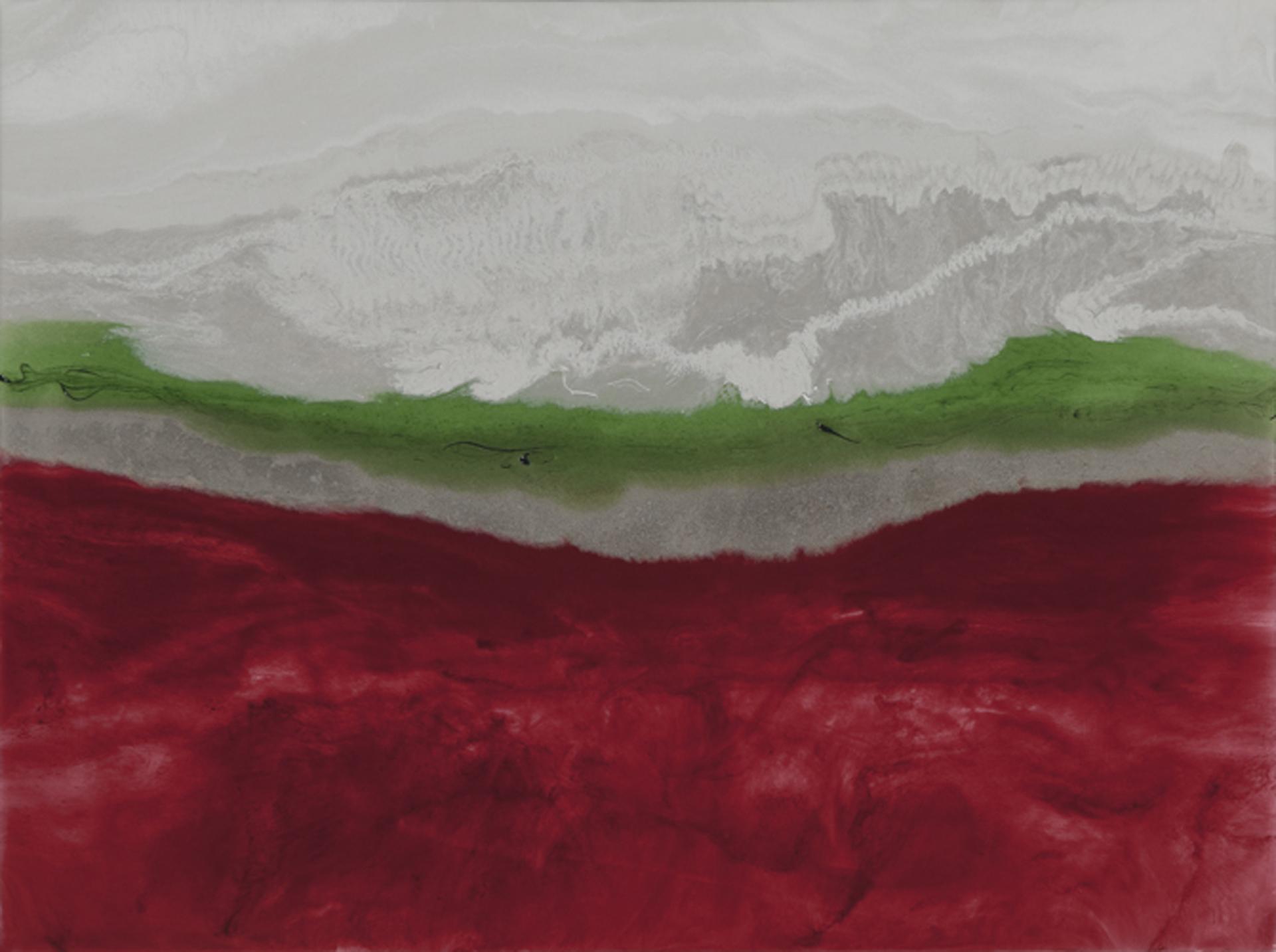 "Snowline  resin & acrylic paint on panel  24"" x 18"""