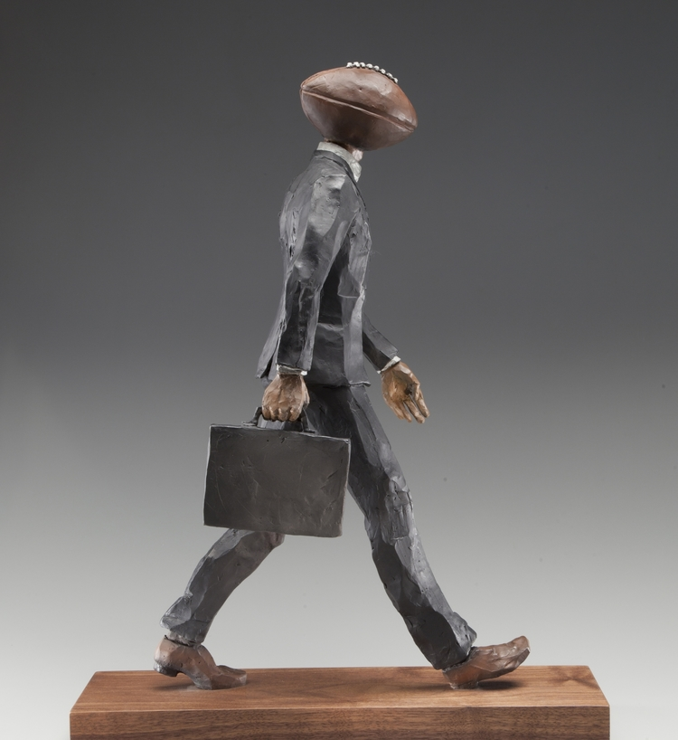 """Head in the Game  bronze  20"""" x 4"""" x 8"""""""