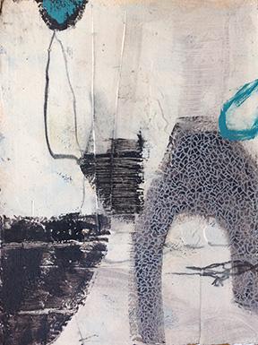 Melanie Grein  Aqua Series, #6  acrylic on paper, 15x11