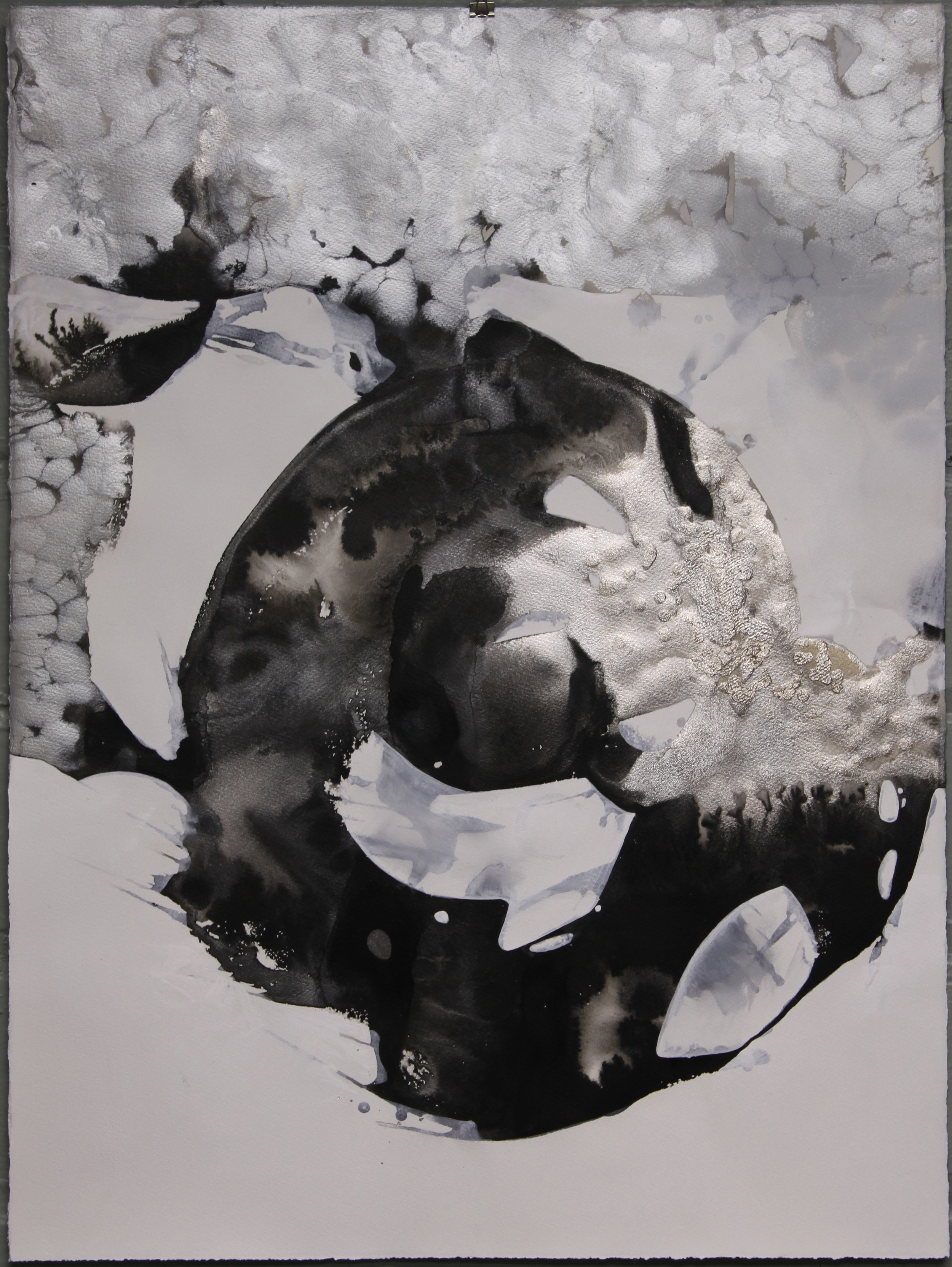 """Quiet the Bellow  ink,acrylic & powdered graphite on paper  30"""" x 22"""" unframed"""