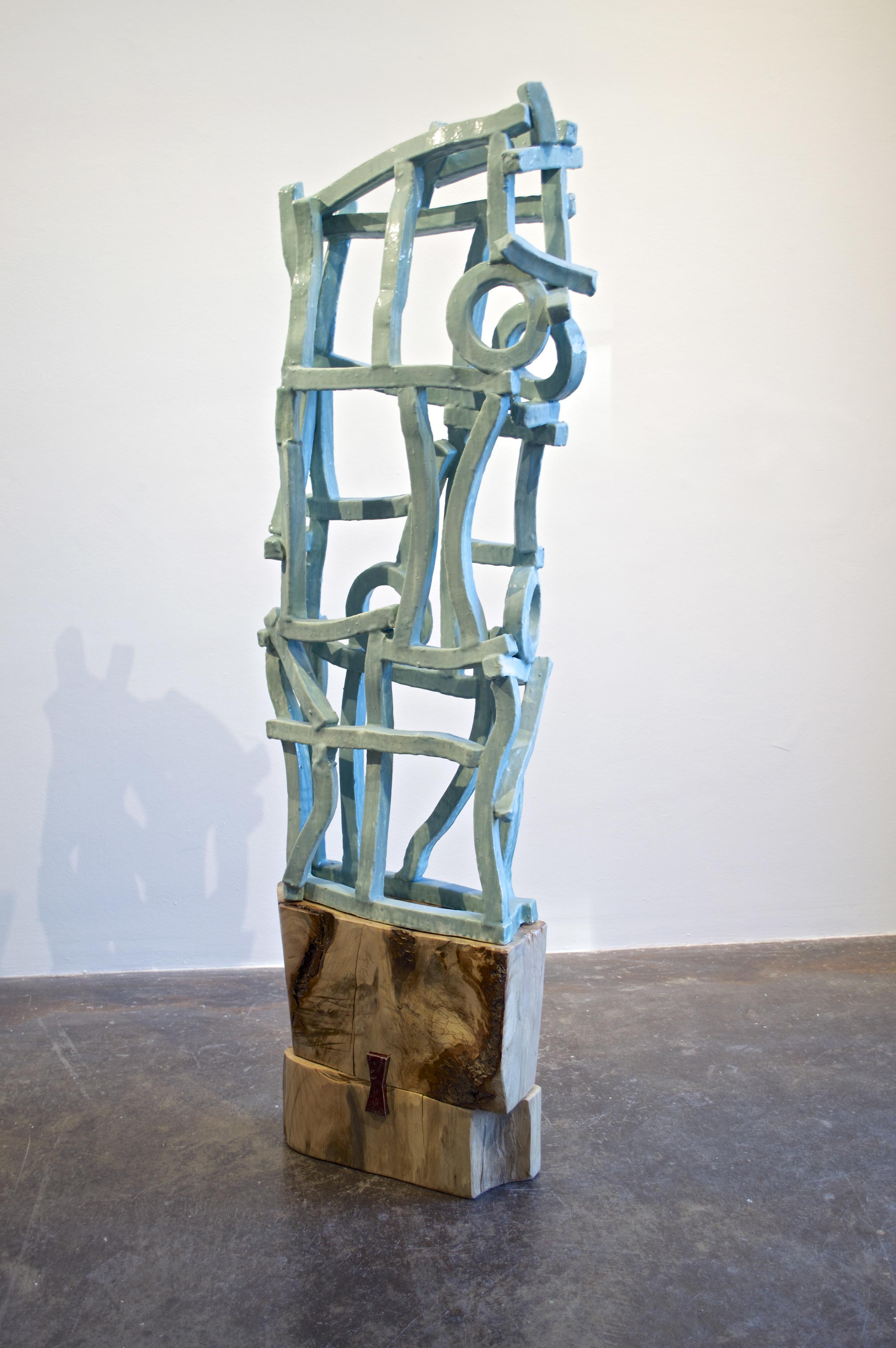 "Brandon Reese  ""Dove Returned""  stoneware and pecan wood  72x25x10"