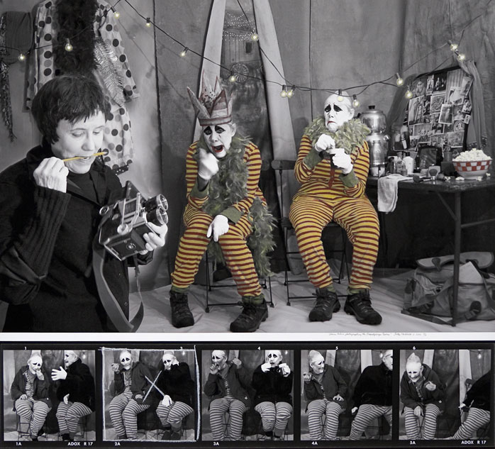 """Sally Stockhold  """"Diane Arbus Photographing the Dopplegager Twins""""  36x40  photography"""