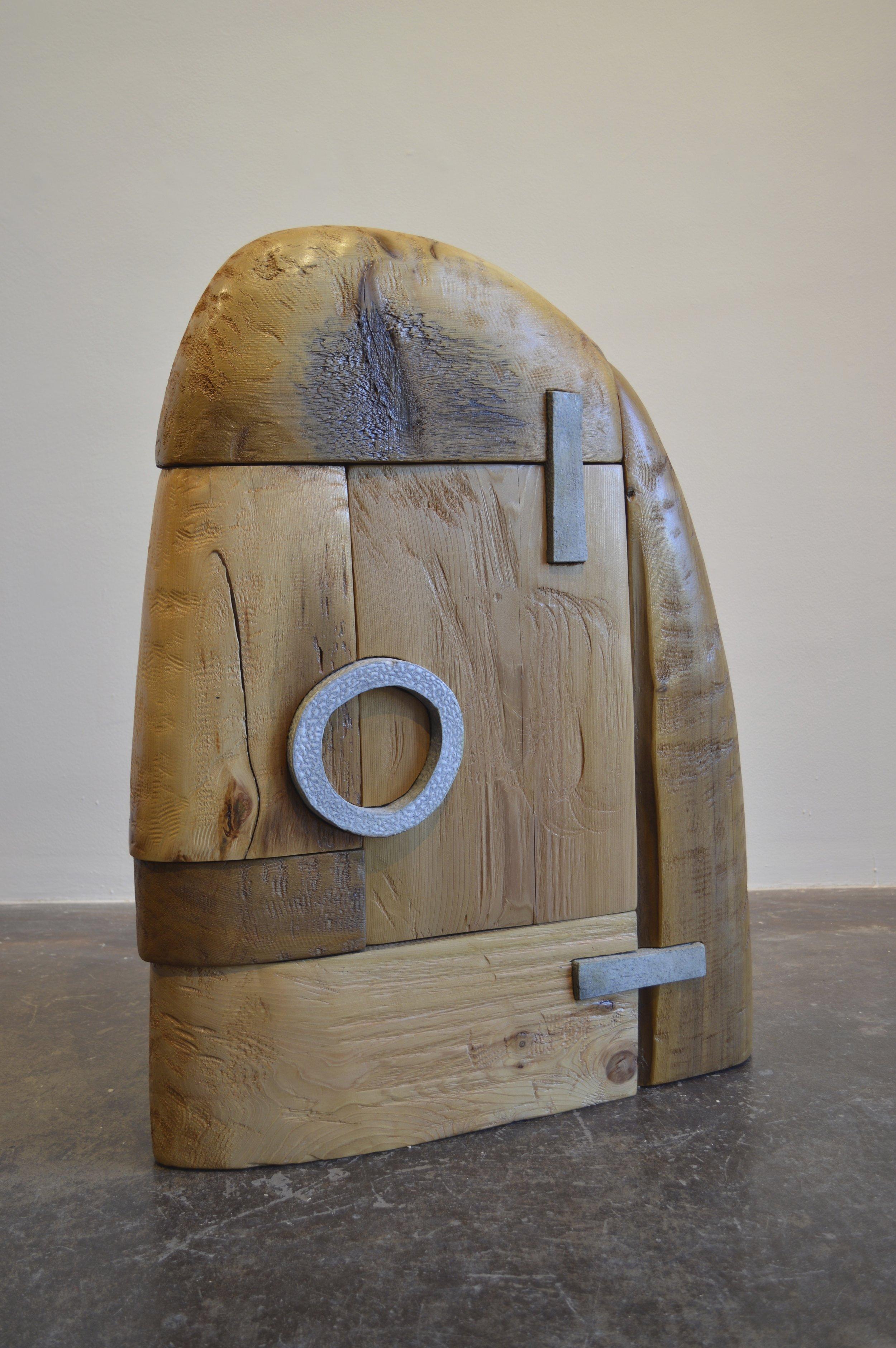 """Jed Johnson, 2014  cedar &salt glazed stoneware  35"""" x 28"""" x 6"""""""
