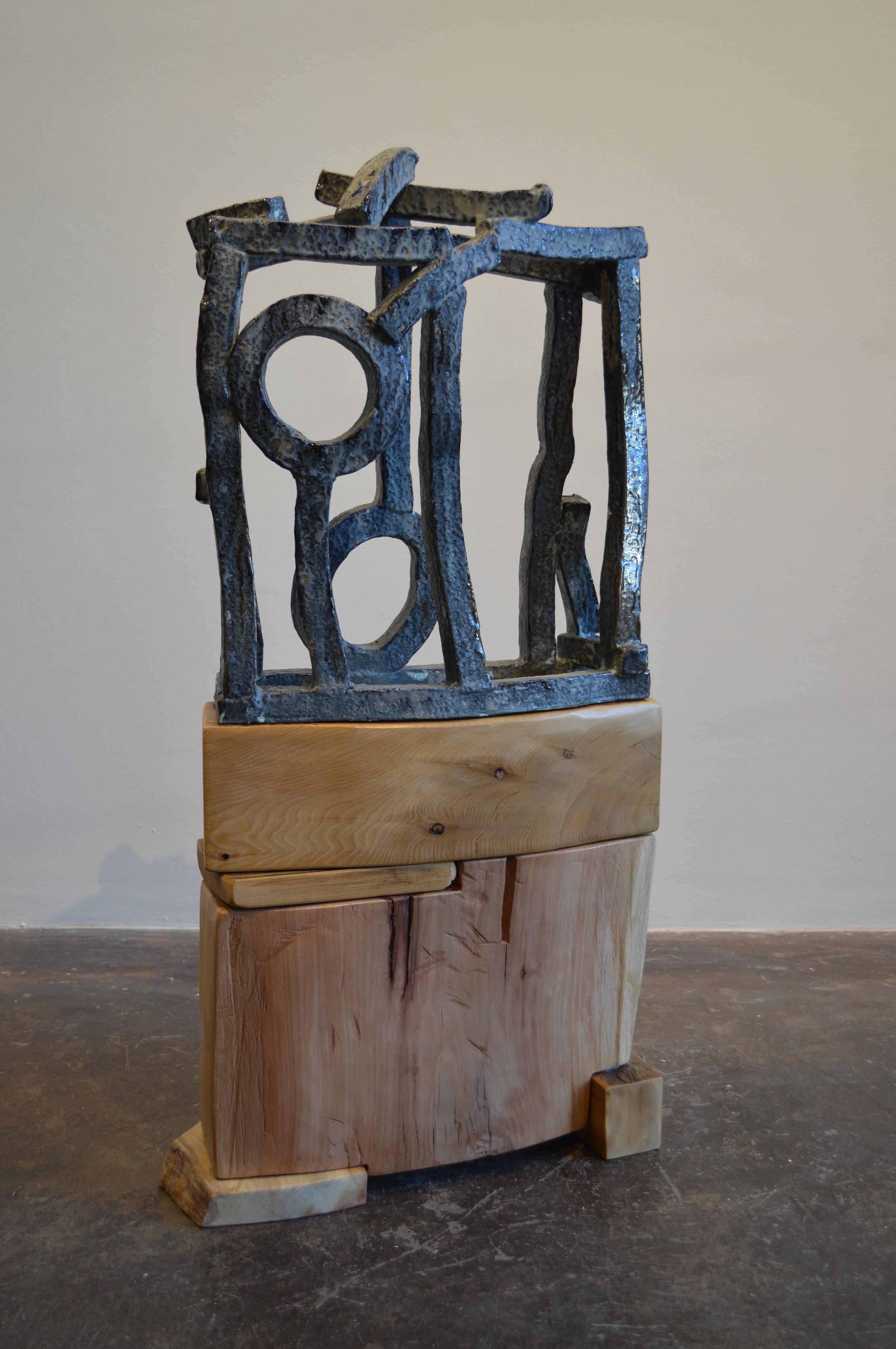 """Jeremiah, 2014  salt glazed stoneware, cedar & sycamore  43"""" x 22"""" x 9"""""""