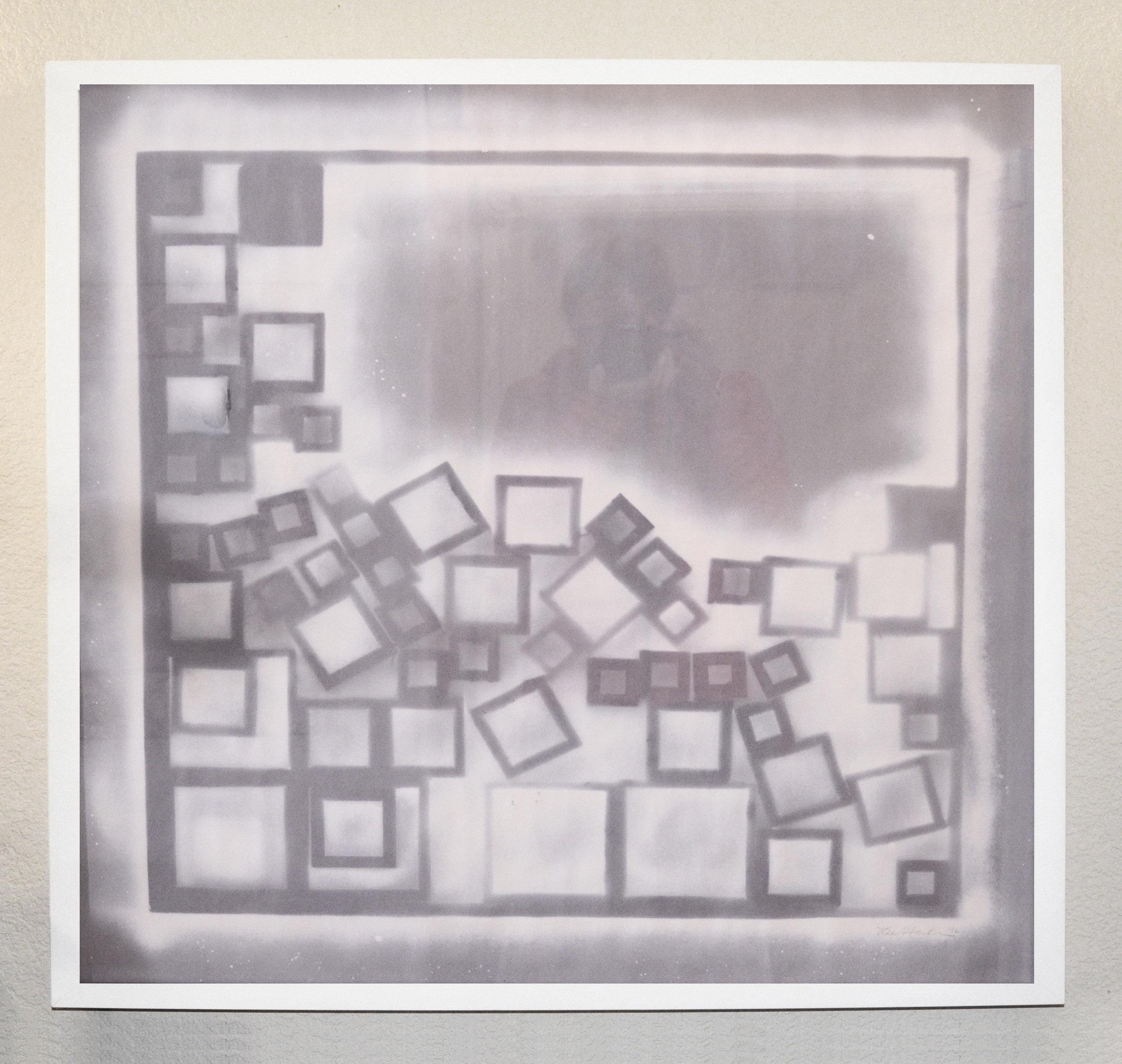 "Impression 1  acrylic on paper  30"" x 30"" - framed"
