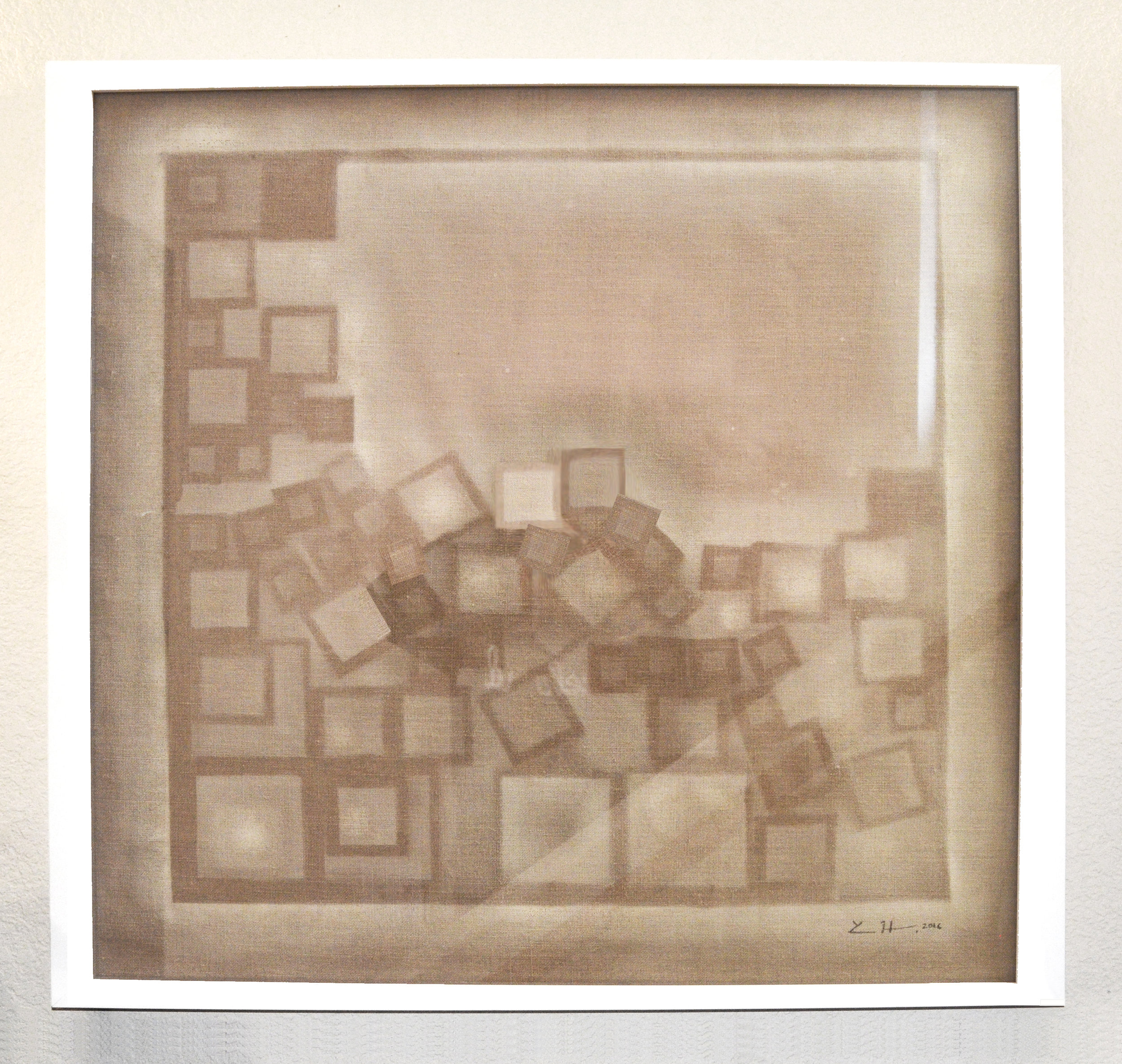 "Impression on Linen  acrylic on linen  30"" x 30"" - framed"