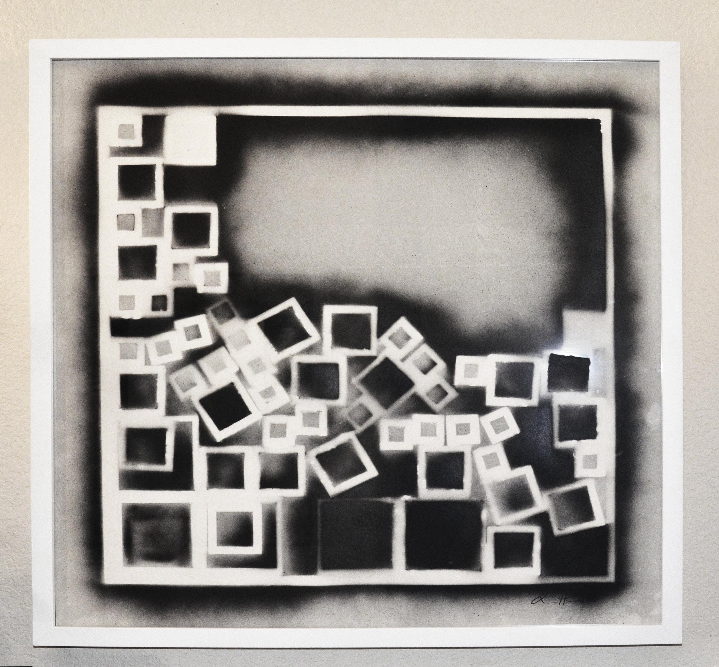 "Impression  acrylic on paper  30"" x 30"" - framed"