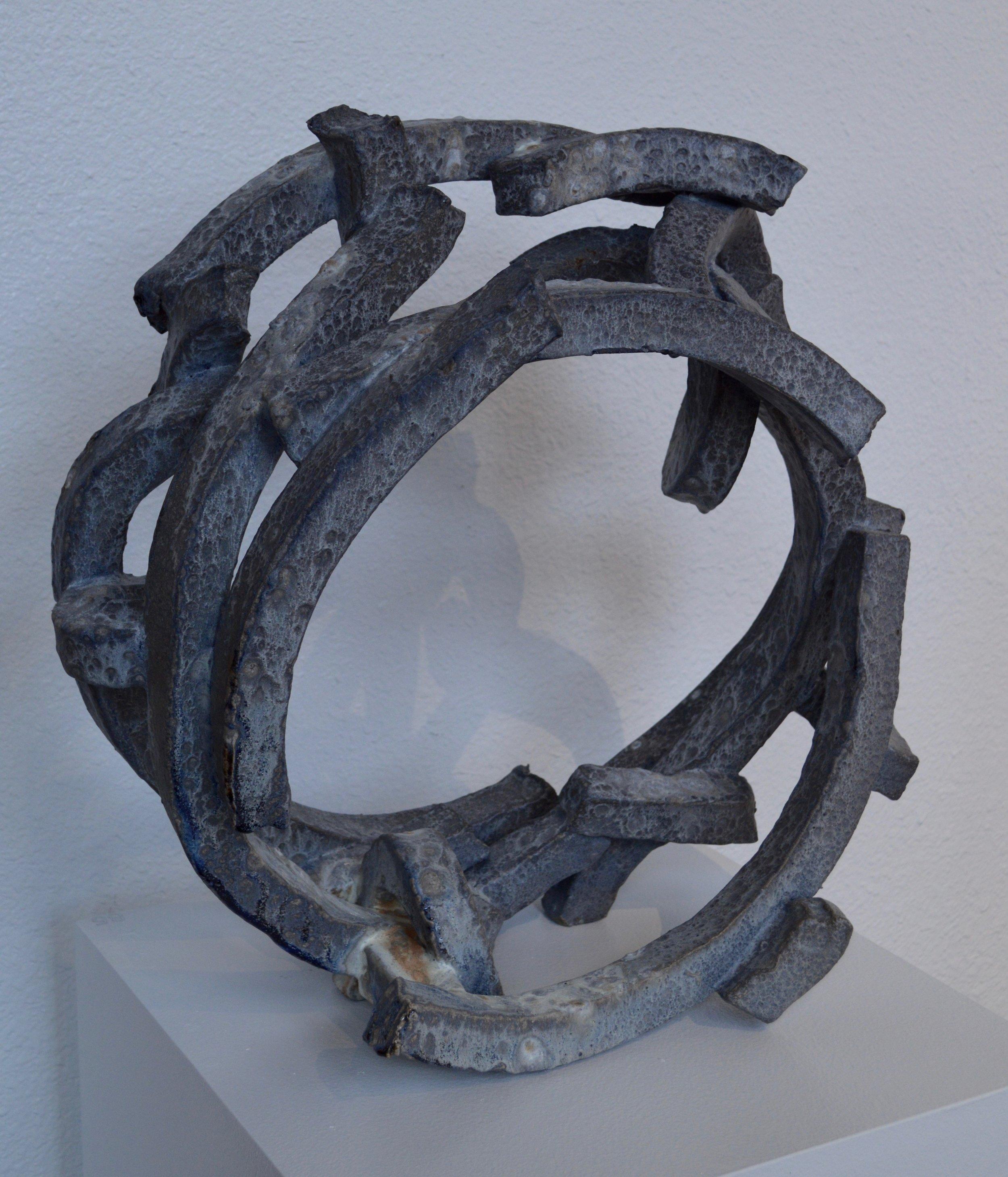 "Large Galvanized Hoop  stoneware & wood  22"" x 23"" x 9"""