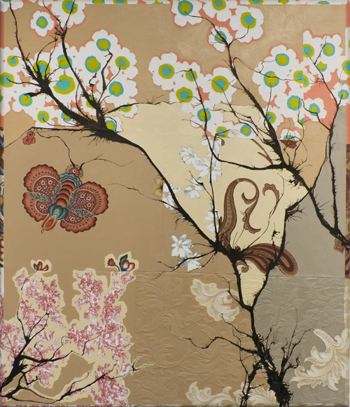 "Urban Summer  Latex and spray paint on found fabrics 50"" x 43"""