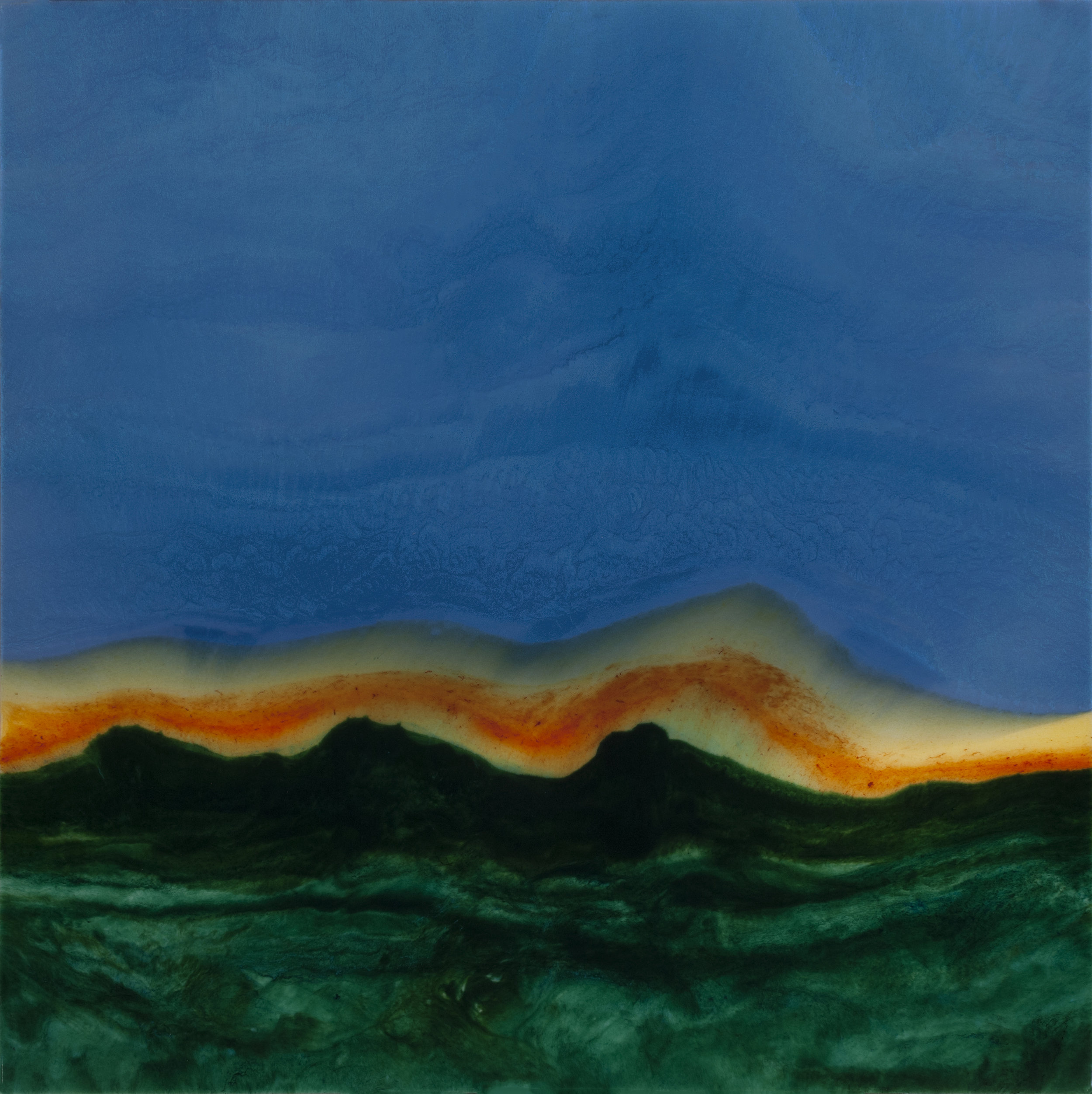 """Above A Rim of Dark Mountains  resin & acrylic on panel  36"""" x 36"""""""
