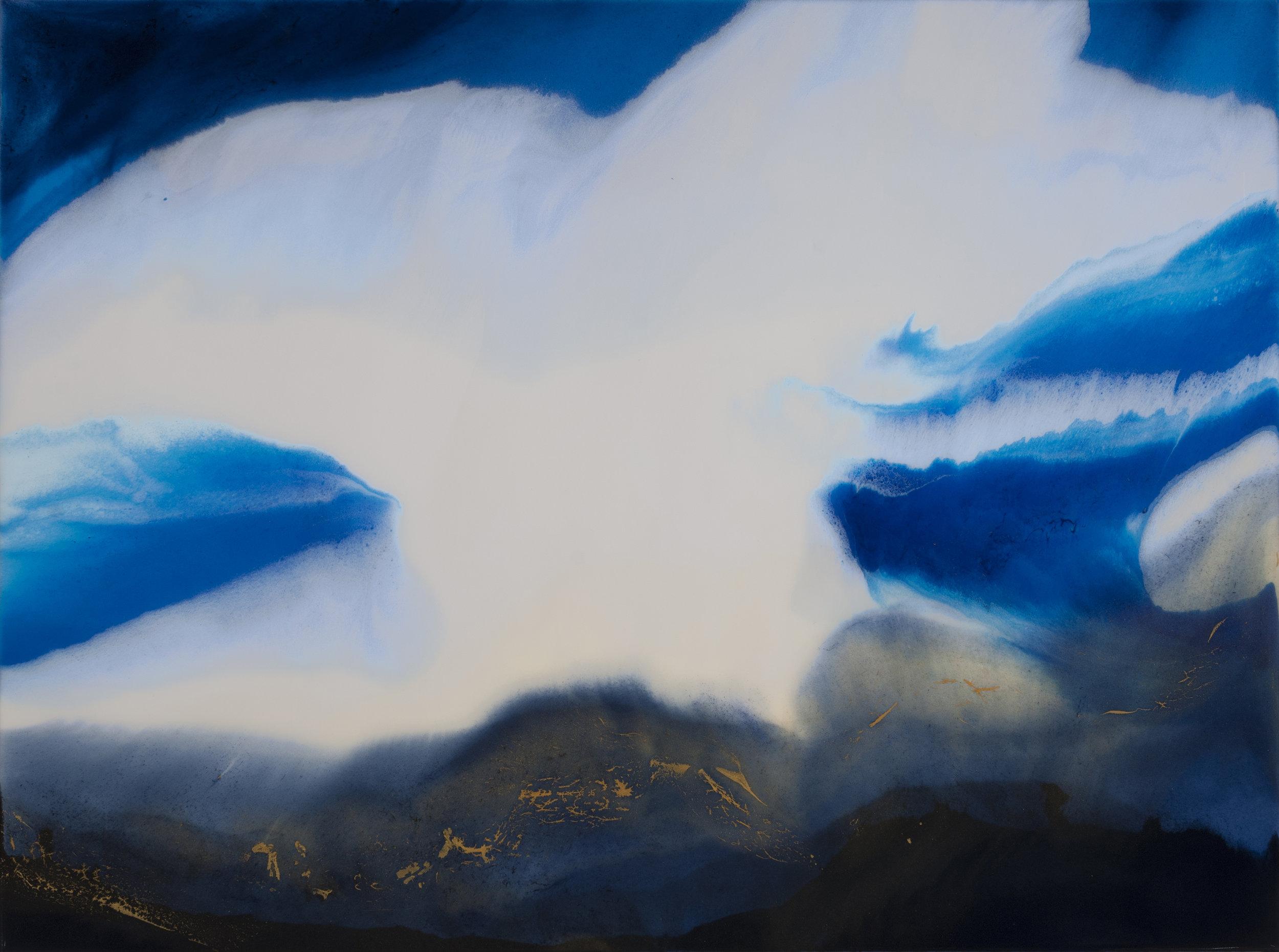 "The Blue Portal  resin & acrylic on panel  40"" x 30"""