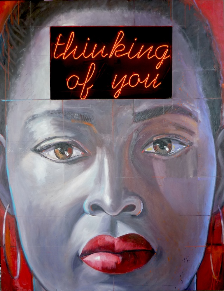 """Thinking of You  oil on panel with neon sign  50"""" x 38"""""""