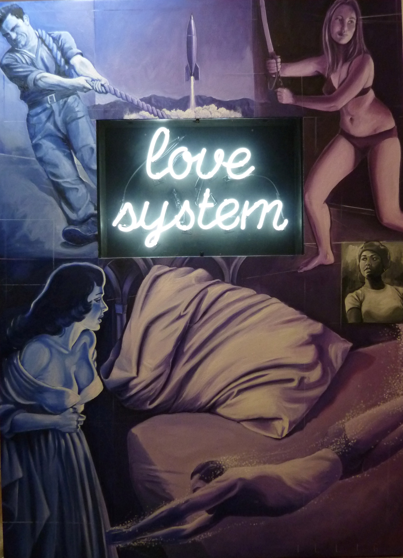 """Love System  oil on panel with neon sign  62"""" x 48"""""""