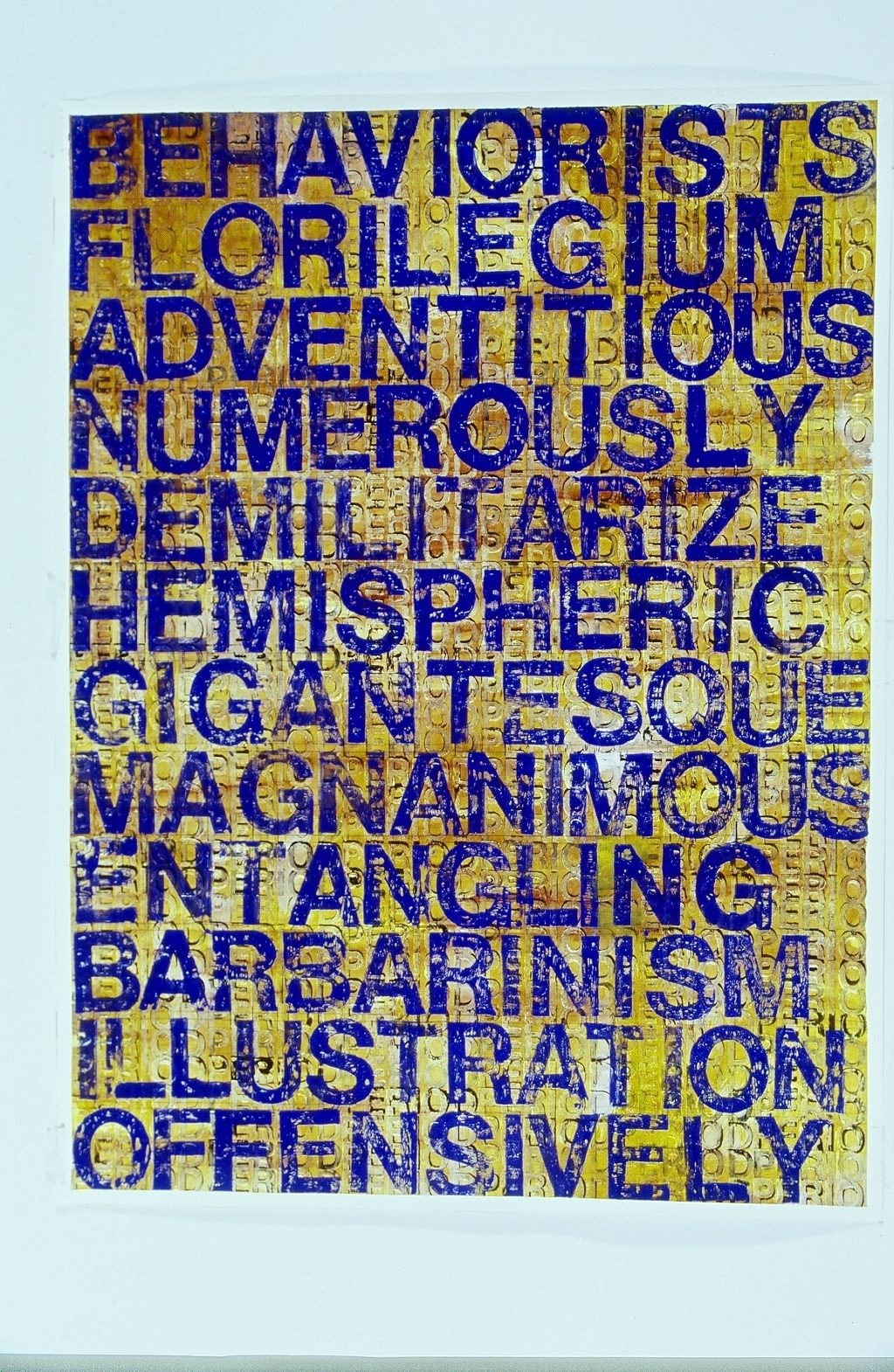 "Behaviorists, 2006  Woodcut print on paper framed  50"" x 39"""