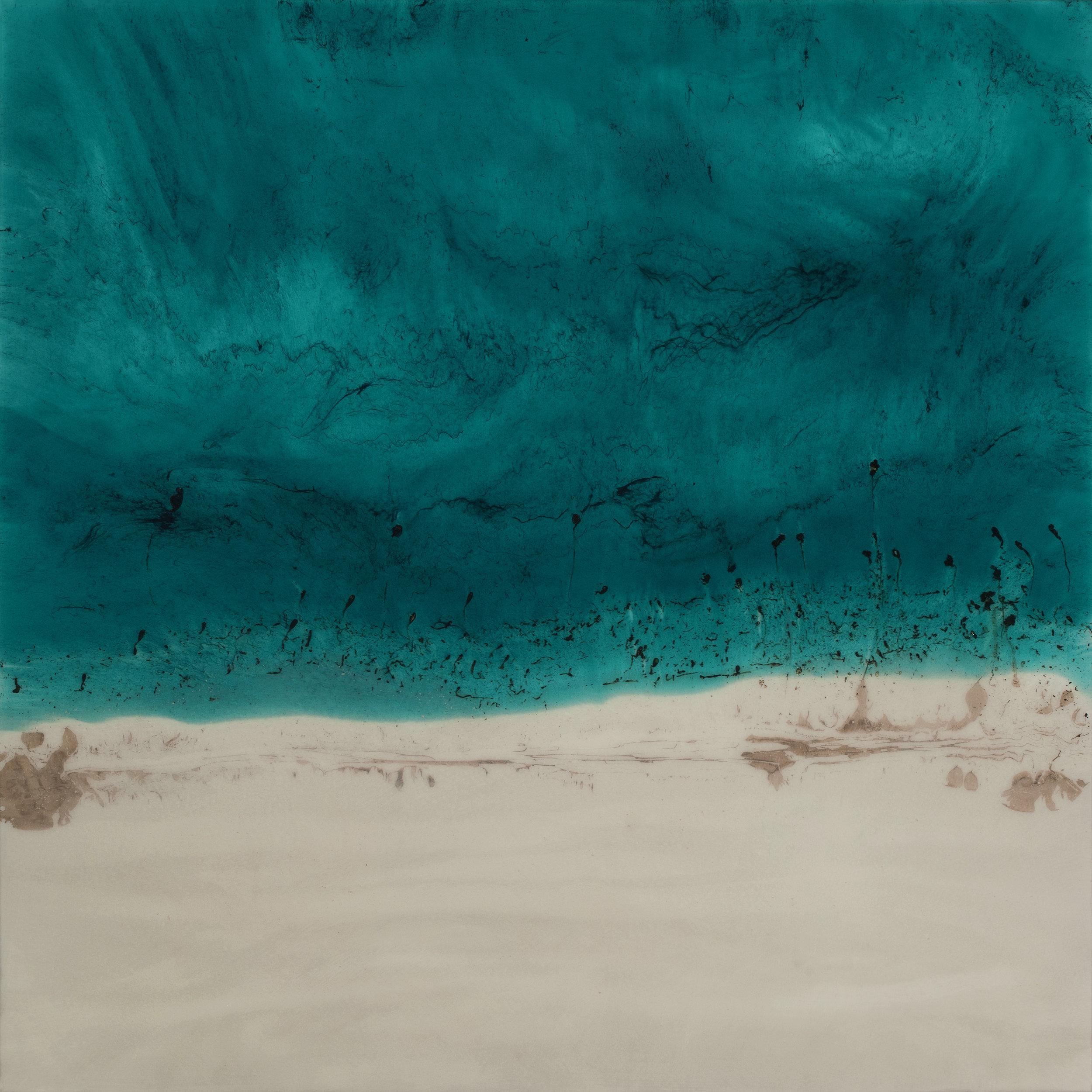 """Teal Beach  resin & acrylic on panel  36"""" x 36"""""""