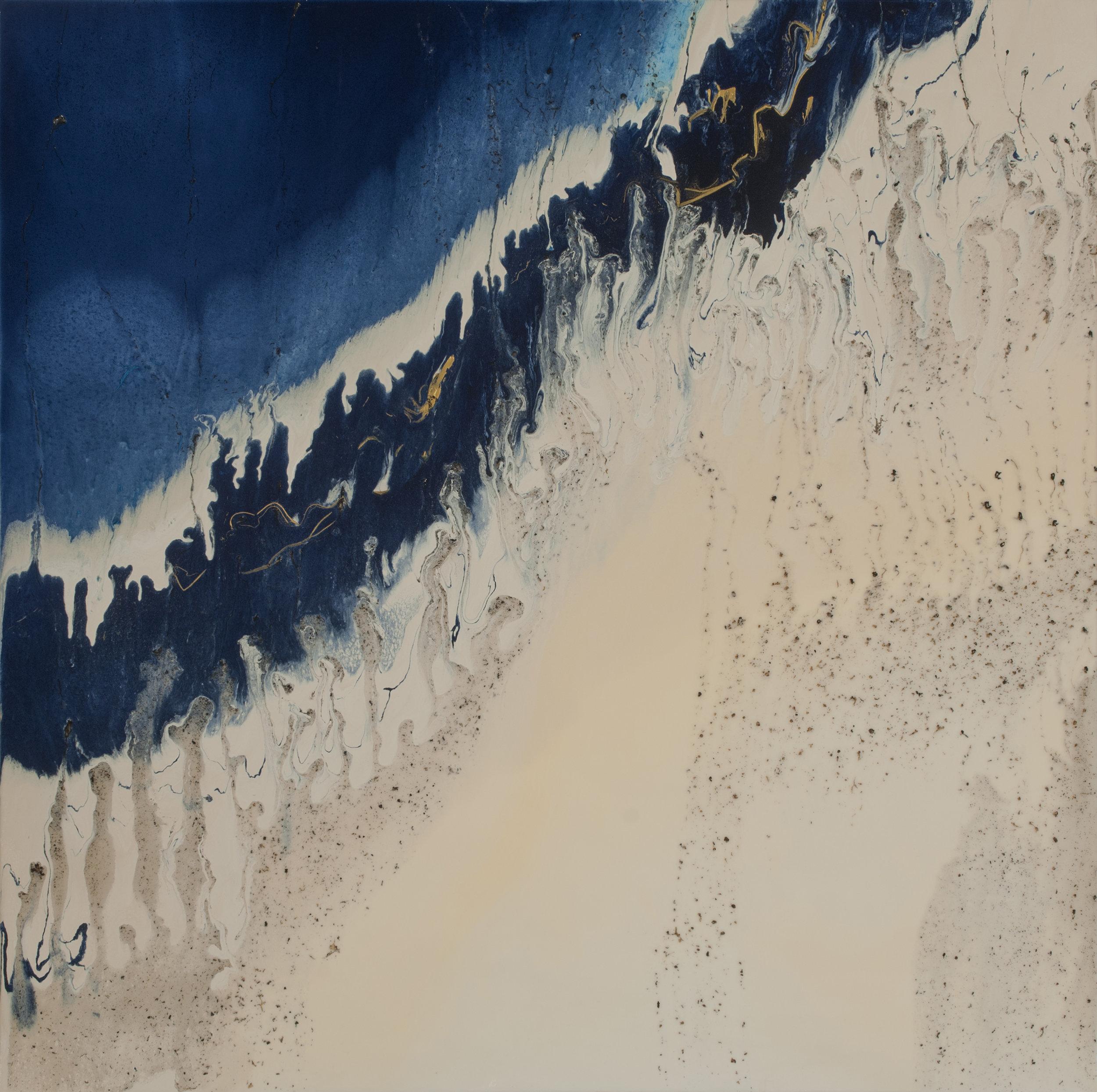 "Sand Castle Blues  acrylic & resin on panel  36"" x 36"""