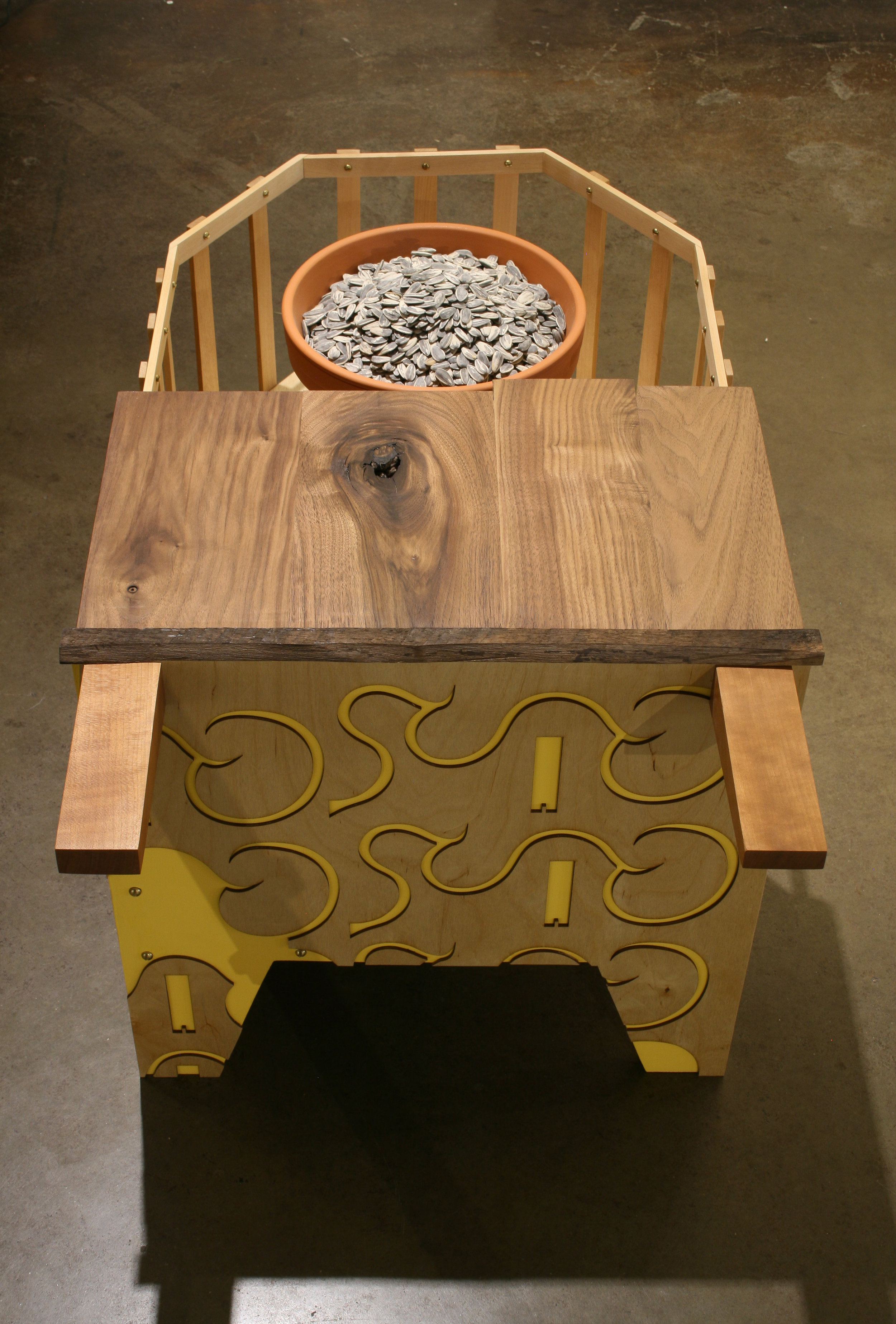 "Seed Planter  wood, clay & sunflower seeds  19"" x 37"" x 19"""
